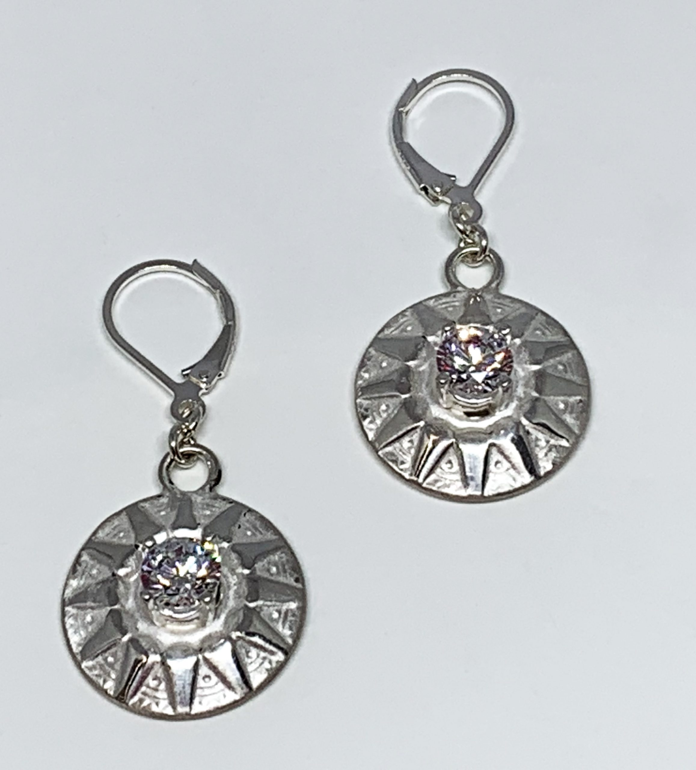 Sterling silver and CZ  sunburst earrings by Karyn Chopik | Effusion Art Gallery + Cast Glass Studio, Invermere BC