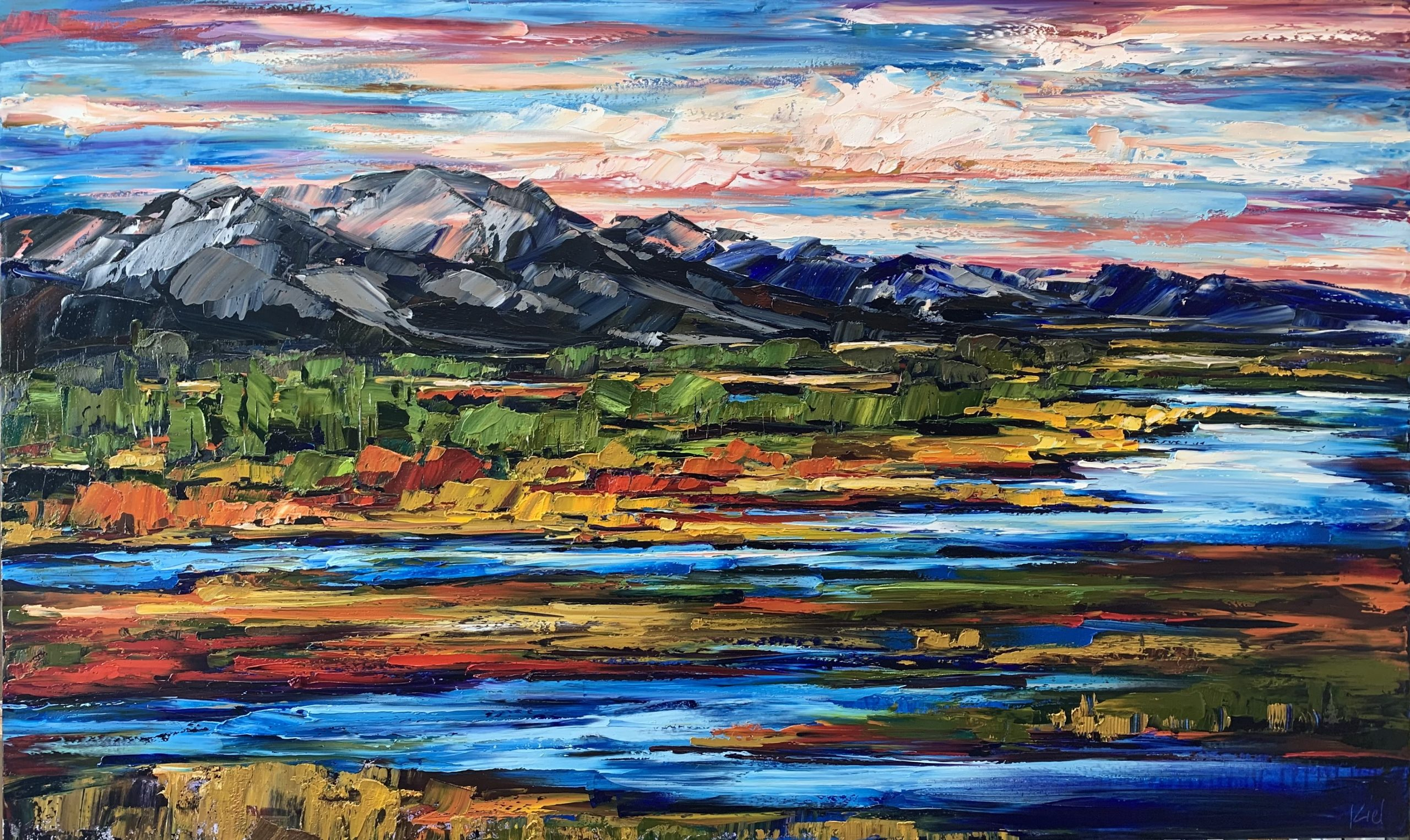 As Long as the Grass Grows and the River Flows, oil landscape painting by Kimberly Kiel | Effusion Art Gallery + Cast Glass Studio, Invermere BC