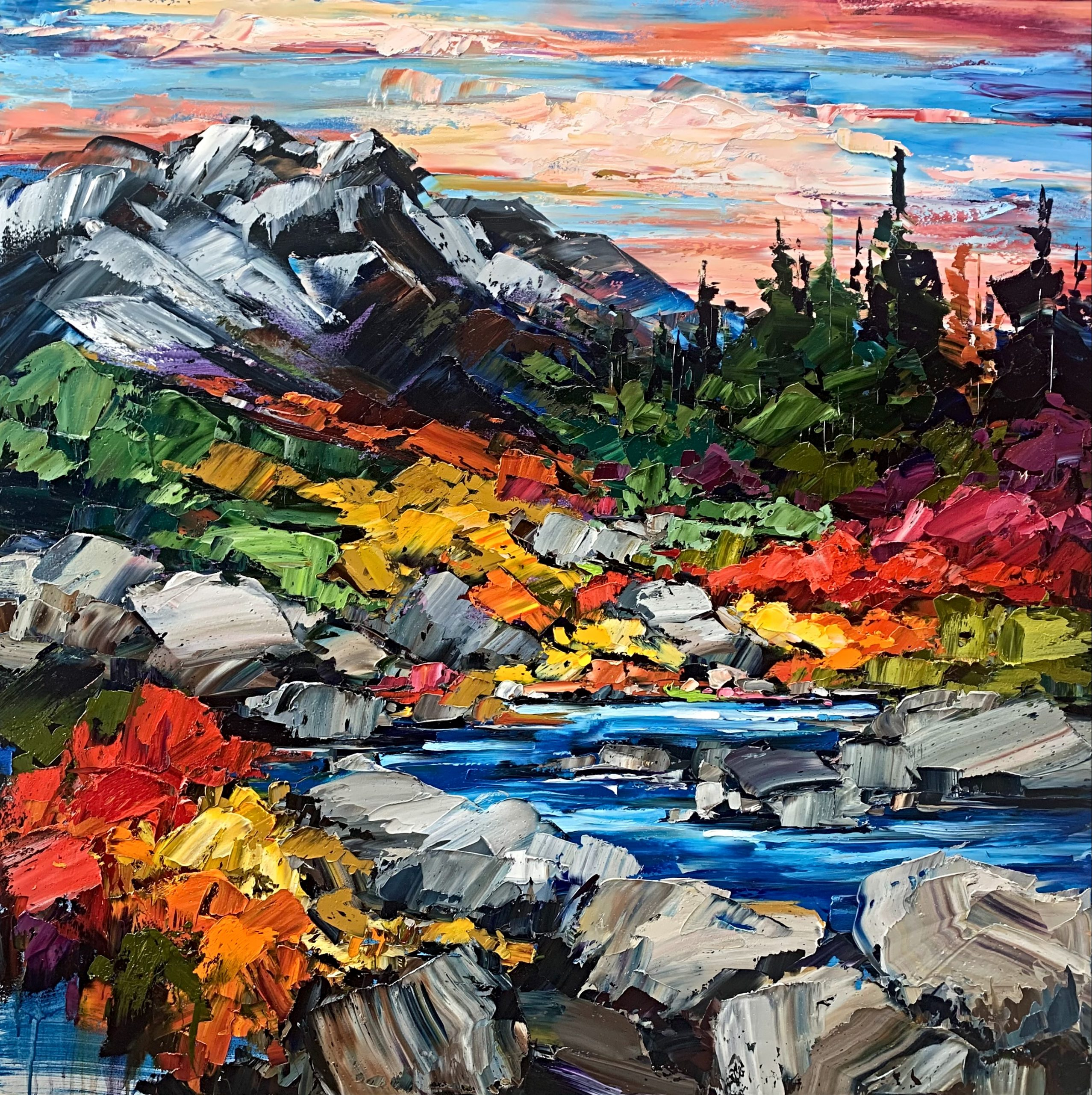 Due North, oil landscape painting by Kimberly Kiel | Effusion Art Gallery + Cast Glass Studio, Invermere BC