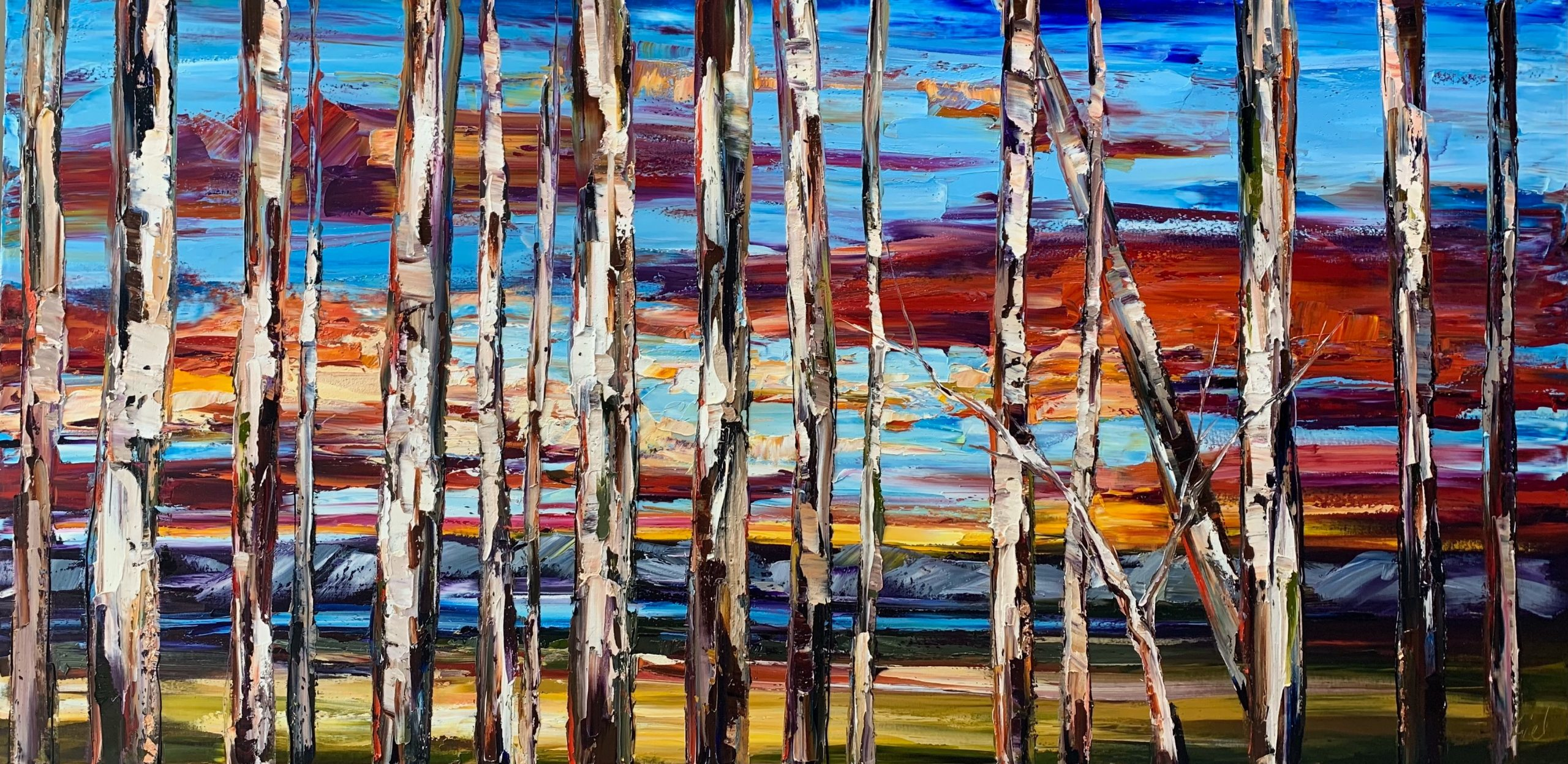 On the Road to Find Out, oil treescape painting by Kimberly Kiel | Effusion Art Gallery + Cast Glass Studio, Invermere BC
