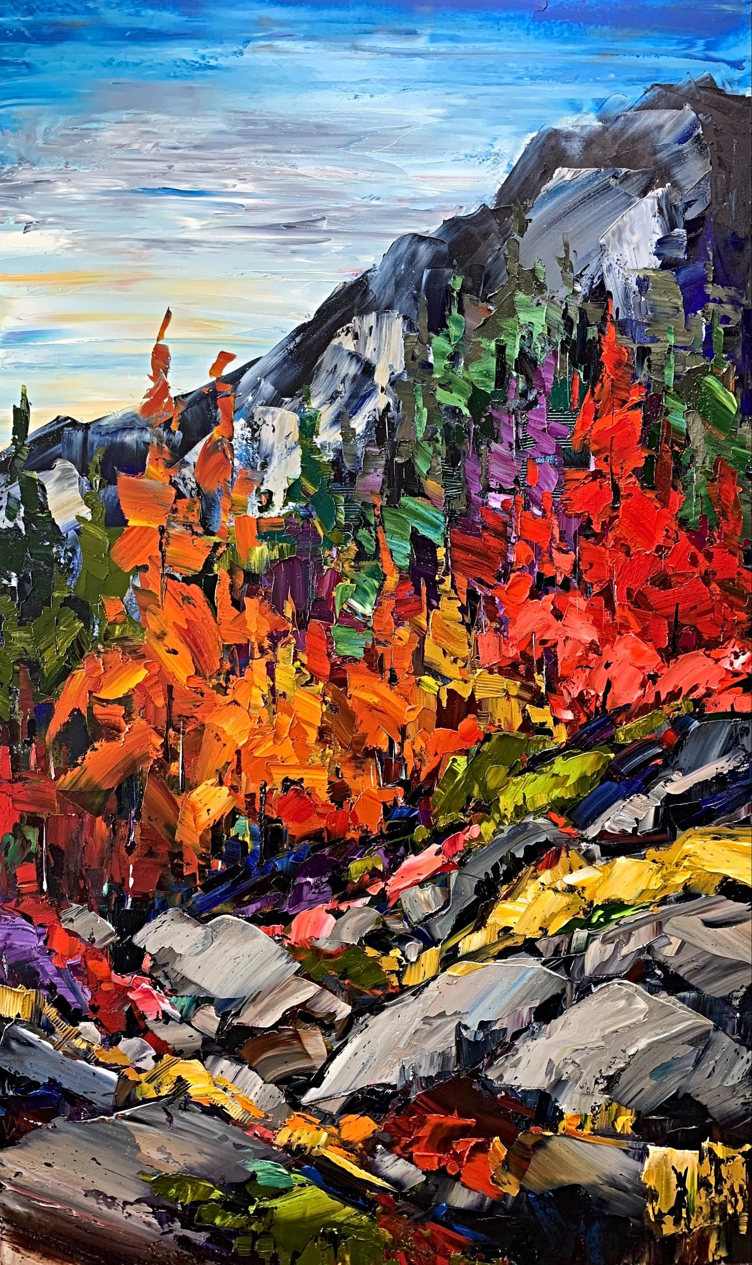 To Live on the Bright Side, oil landscape painting by Kimberly Kiel | Effusion Art Gallery + Cast Glass Studio, Invermere BC