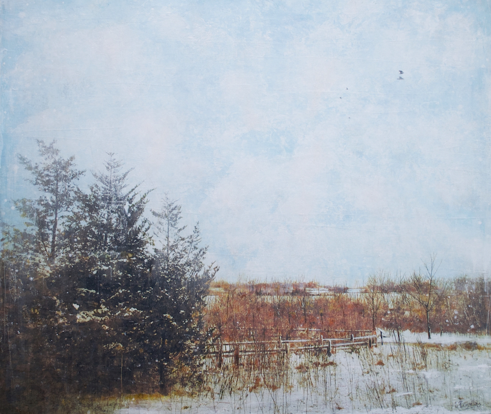 Quiet Integration, mixed media landscape painting by Lori Bagneres | Effusion Art Gallery + Cast Glass Studio, Invermere BC