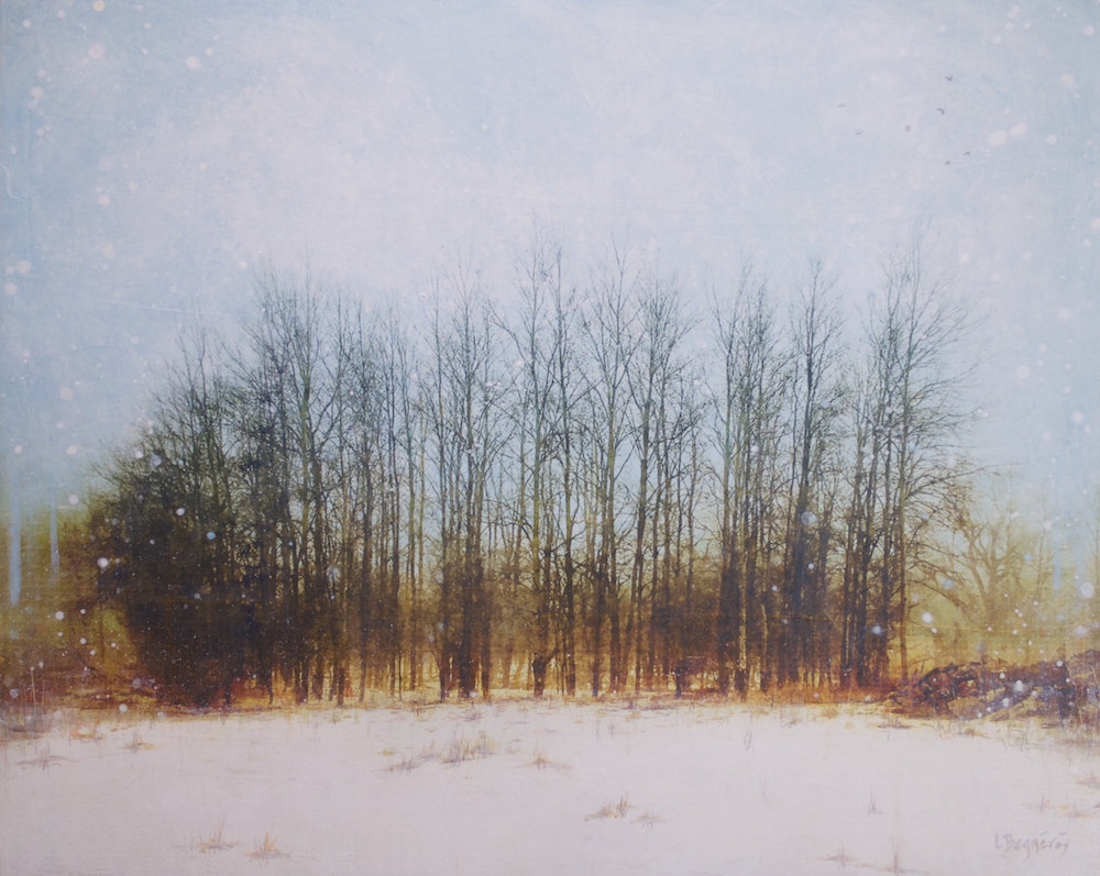 The Gathered, mixed media landscape painting by Lori Bagneres | Effusion Art Gallery + Cast Glass Studio, Invermere BC