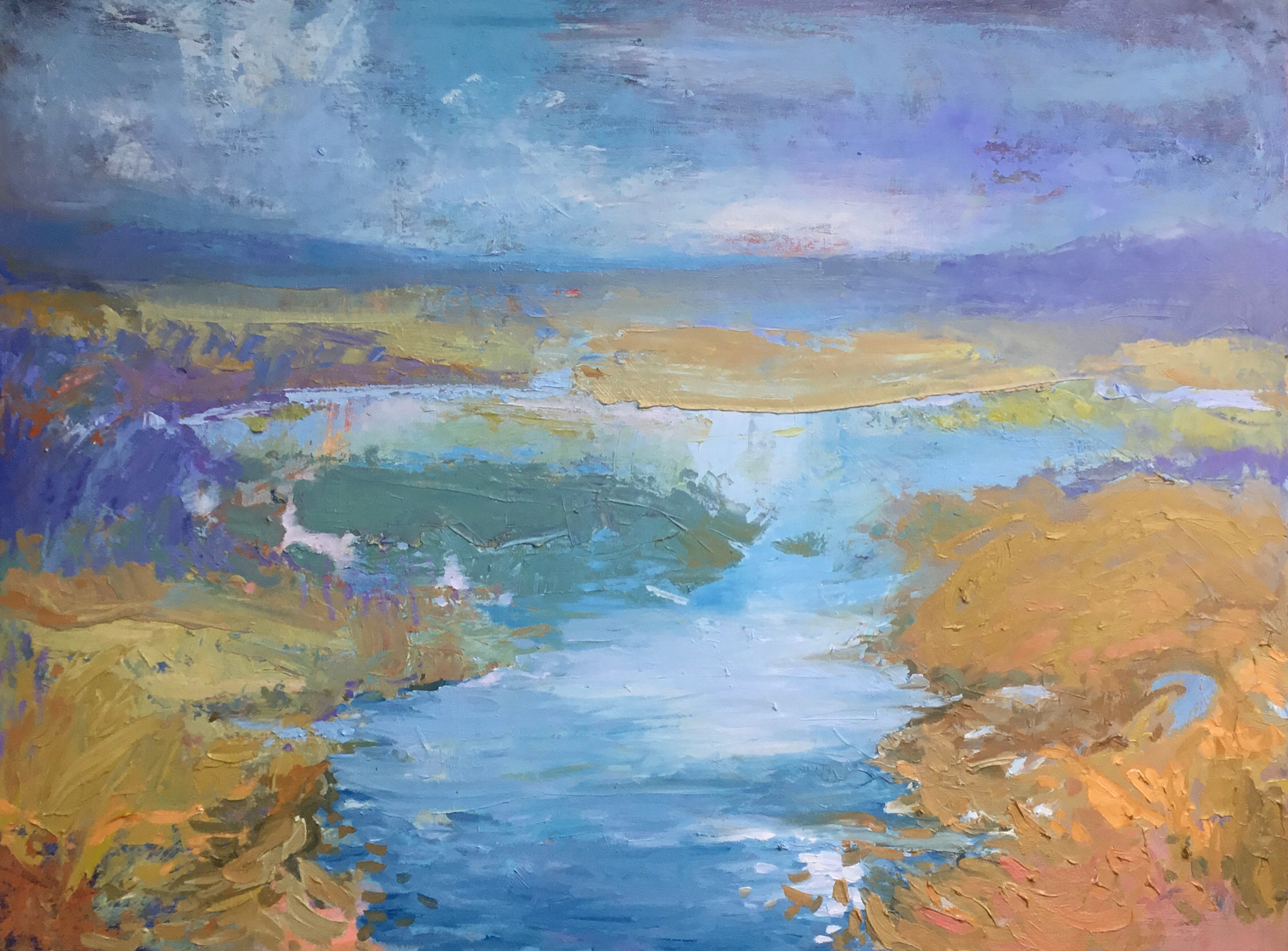 Distant Shores, oil painting by Carol Finkbeiner Thomas | Effusion Art Gallery + Cast Glass Studio, Invermere BC