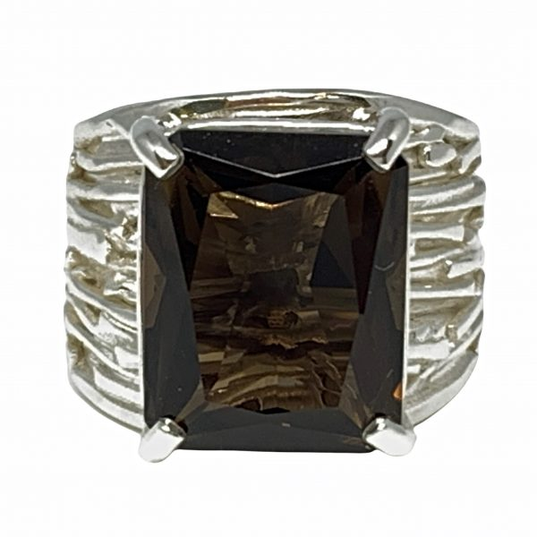 Sterling silver and smokey quartz ring by A&R Jewellery   Effusion Art Gallery + Cast Glass Studio, Invermere BC