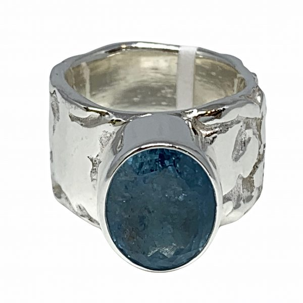 Sterling silver and aquamarine ring by A&R Jewellery   Effusion Art Gallery + Cast Glass Studio, Invermere BC