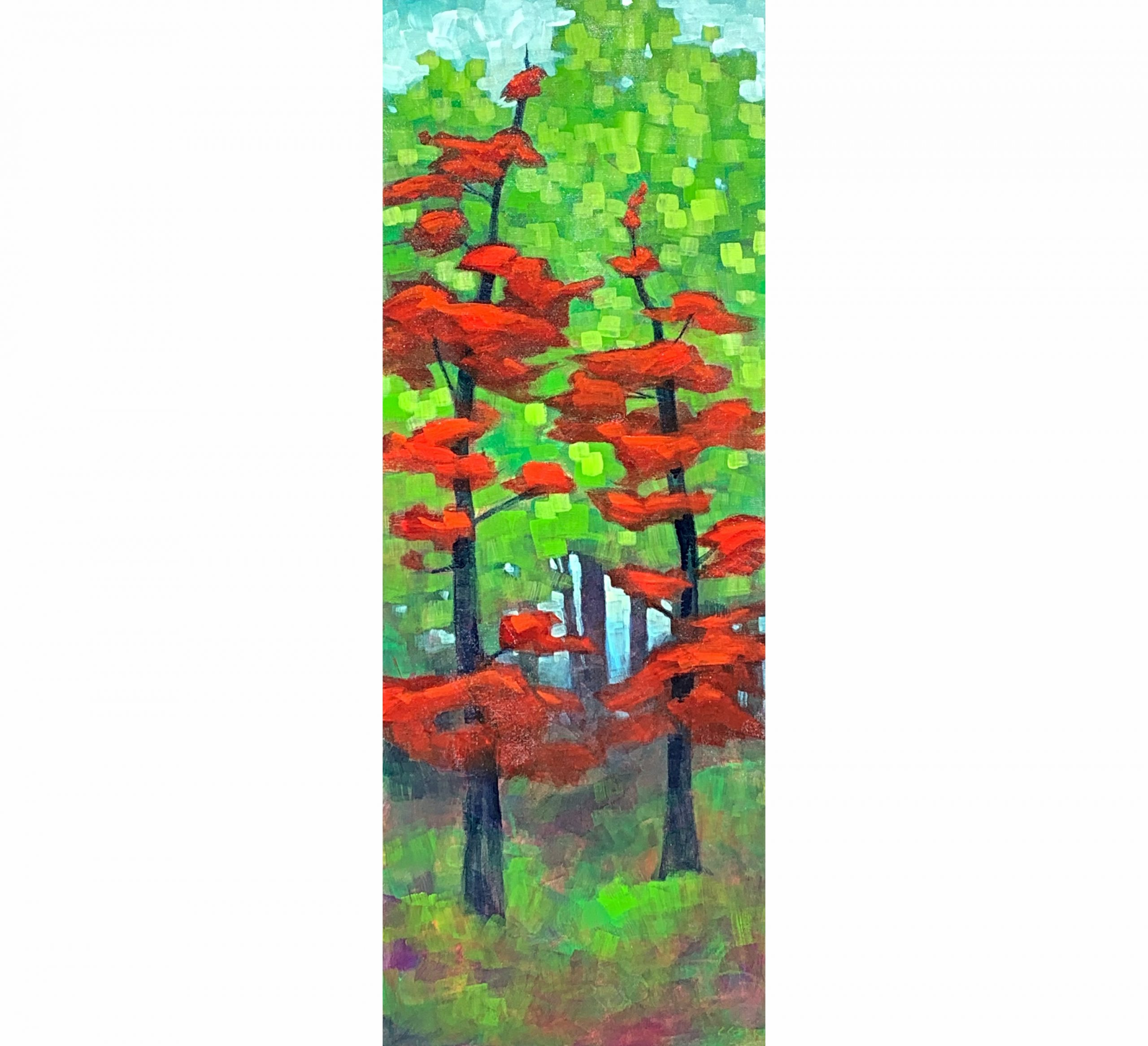 A Way Through, acrylic tree painting by Connie Geerts | Effusion Art Gallery + Cast Glass Studio, Invermere BC