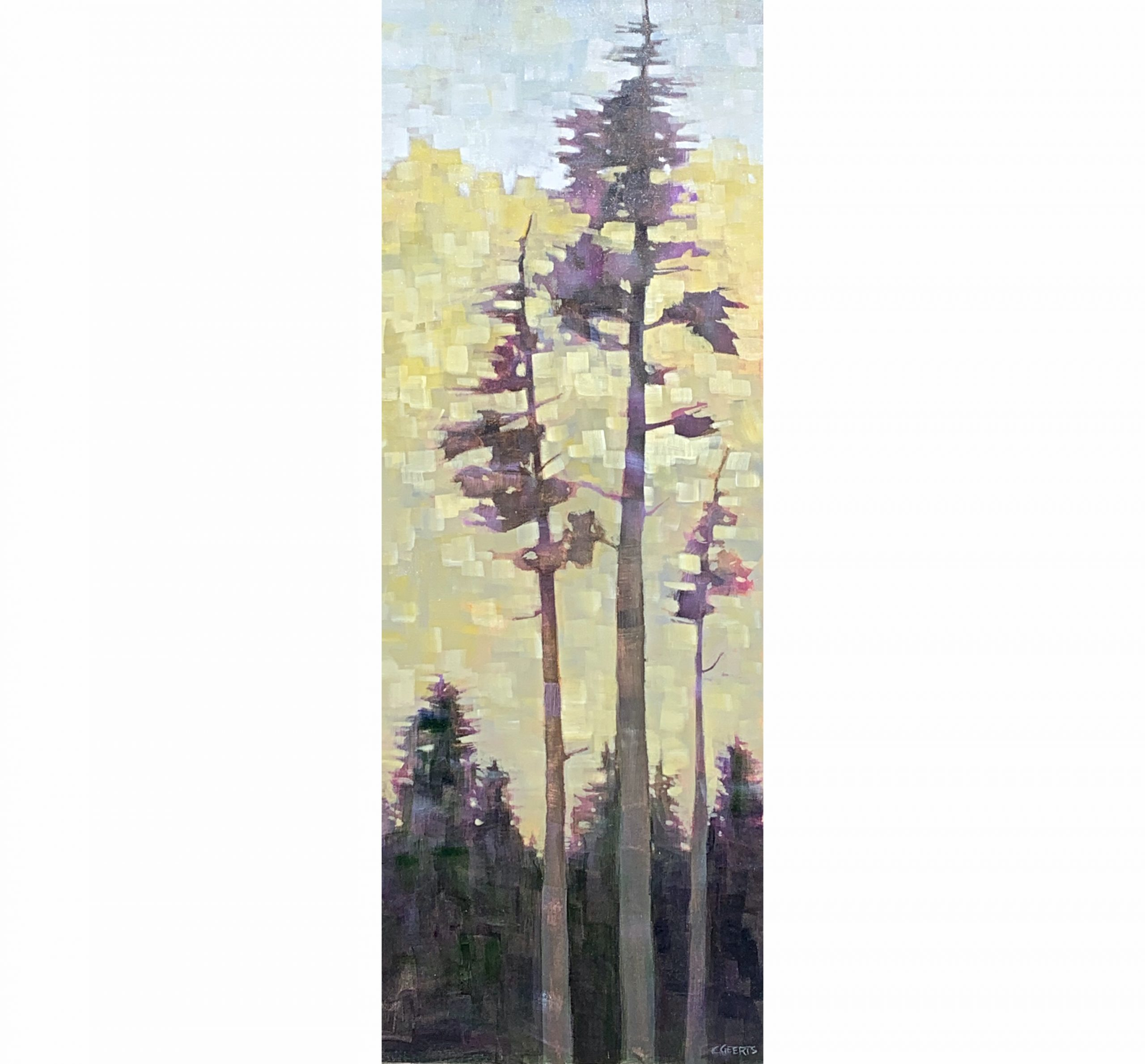 Low Key, acrylic tree painting by Connie Geerts | Effusion Art Gallery + Cast Glass Studio, Invermere BC