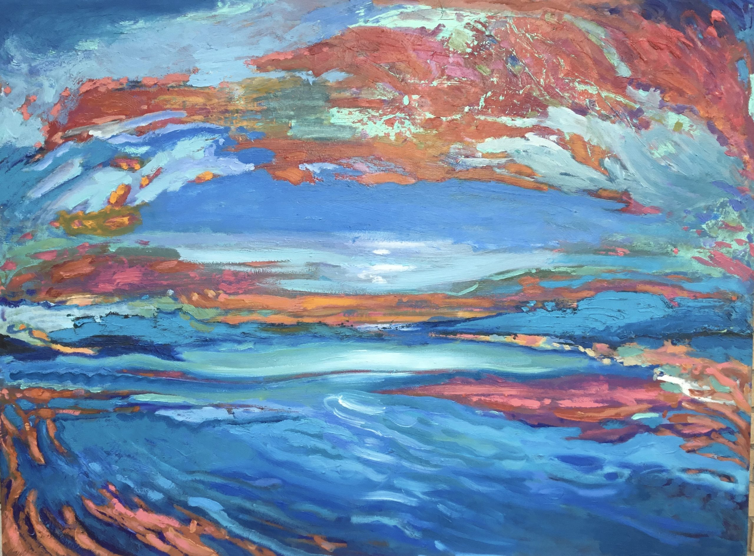 Hawk's View Opal, oil painting by Carol Finkbeiner Thomas | Effusion Art Gallery + Cast Glass Studio, Invermere BC