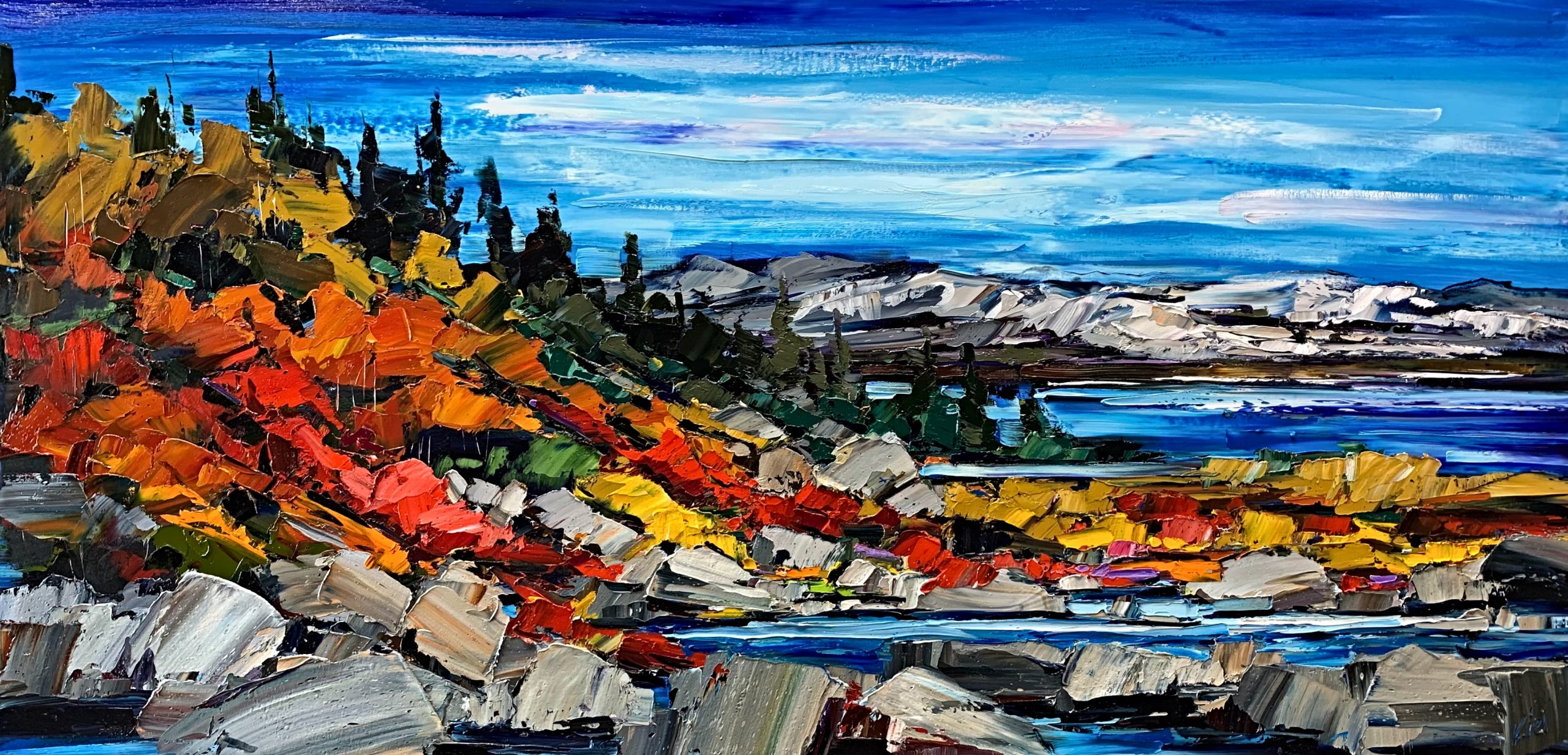Day by Day, oil landscape painting by Kimberly Kiel | Effusion Art Gallery + Cast Glass Studio, Invermere BC