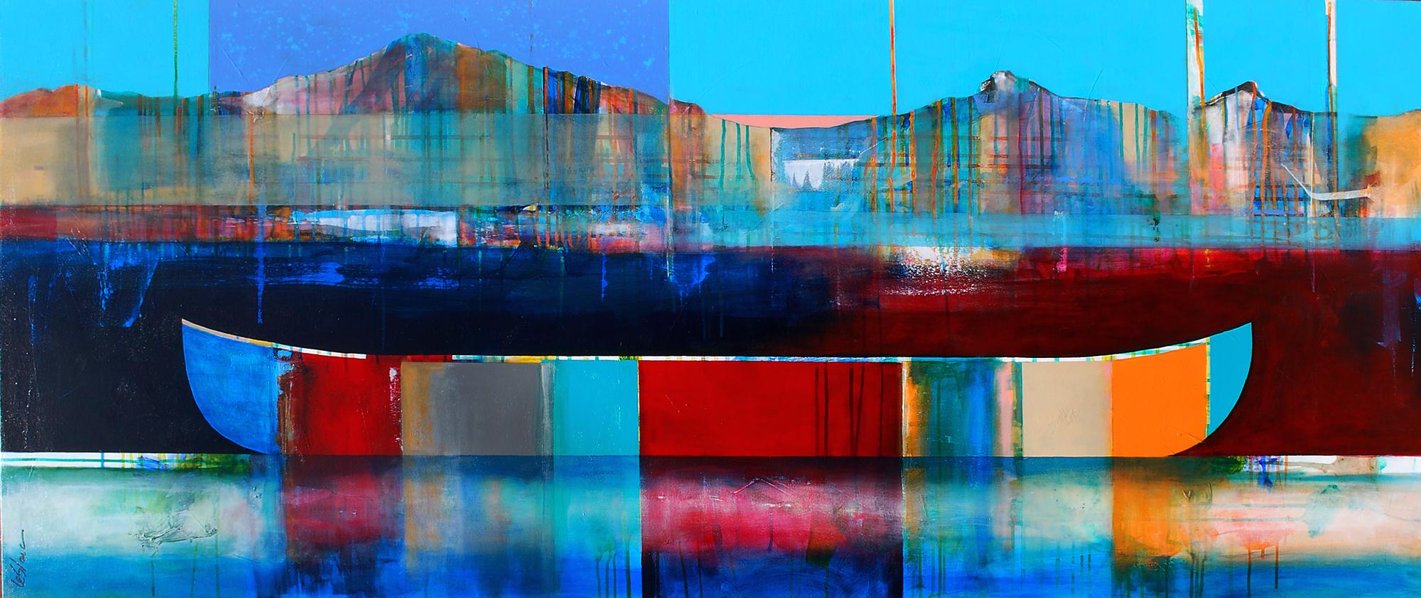 À la lueur des montagnes, mixed media canoe painting by Sylvain Leblanc | Effusion Art Gallery + Cast Glass Studio, Invermere BC
