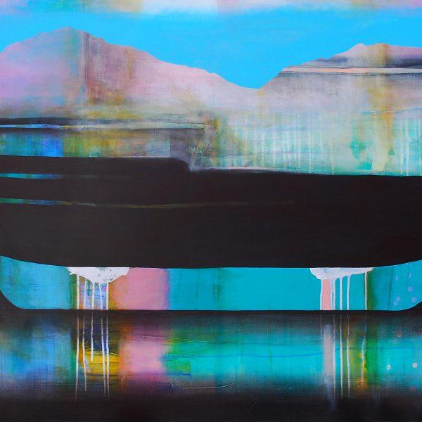 Cette attirance des écluses lointaines, mixed media canoe painting by Sylvain Leblanc | Effusion Art Gallery + Cast Glass Studio, Invermere BC