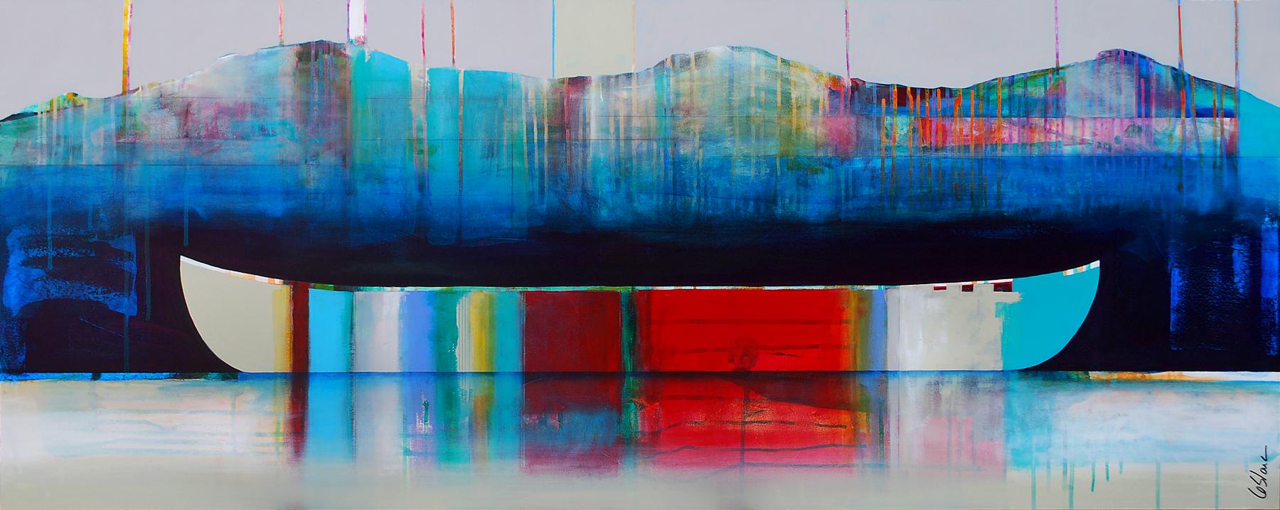 La douceur du temps, mixed media canoe painting by Sylvain Leblanc | Effusion Art Gallery + Cast Glass Studio, Invermere BC