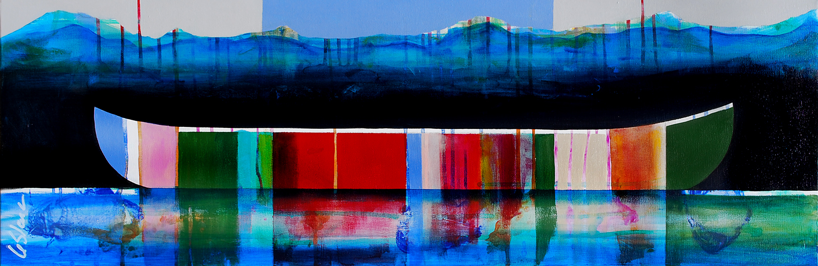Prélude, mixed media canoe painting by Sylvain Leblanc | Effusion Art Gallery + Cast Glass Studio, Invermere BC