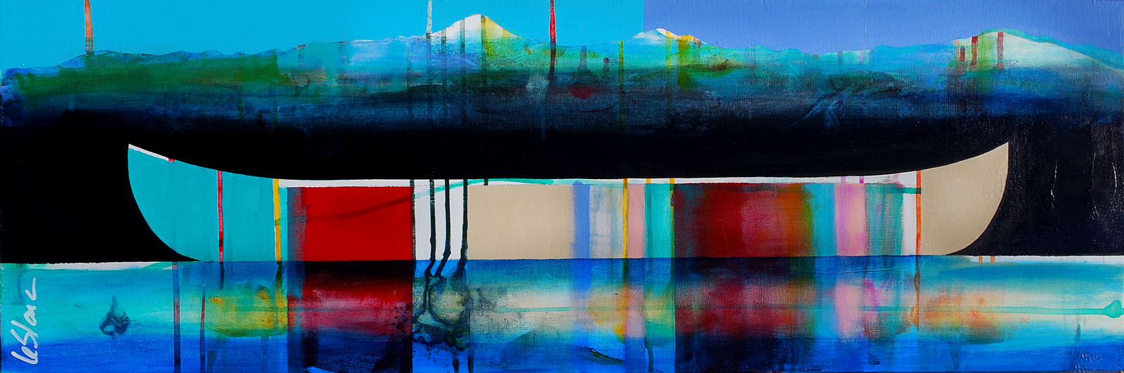 Sonate, mixed media canoe painting by Sylvain Leblanc | Effusion Art Gallery + Cast Glass Studio, Invermere BC