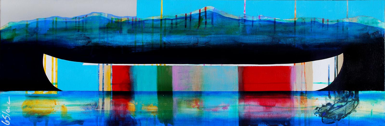 Soupir, mixed media canoe painting by Sylvain Leblanc | Effusion Art Gallery + Cast Glass Studio, Invermere BC