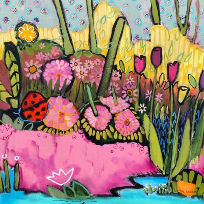 Ladybugs Welcome, acrylic painting by Eleanor Lowden   Effusion Art Gallery + Cast Glass Studio, Invermere BC