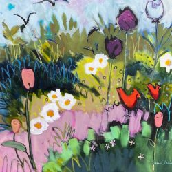 We Met in the Neighbour's Garden, acrylic painting by Eleanor Lowden | Effusion Art Gallery + Cast Glass Studio, Invermere BC