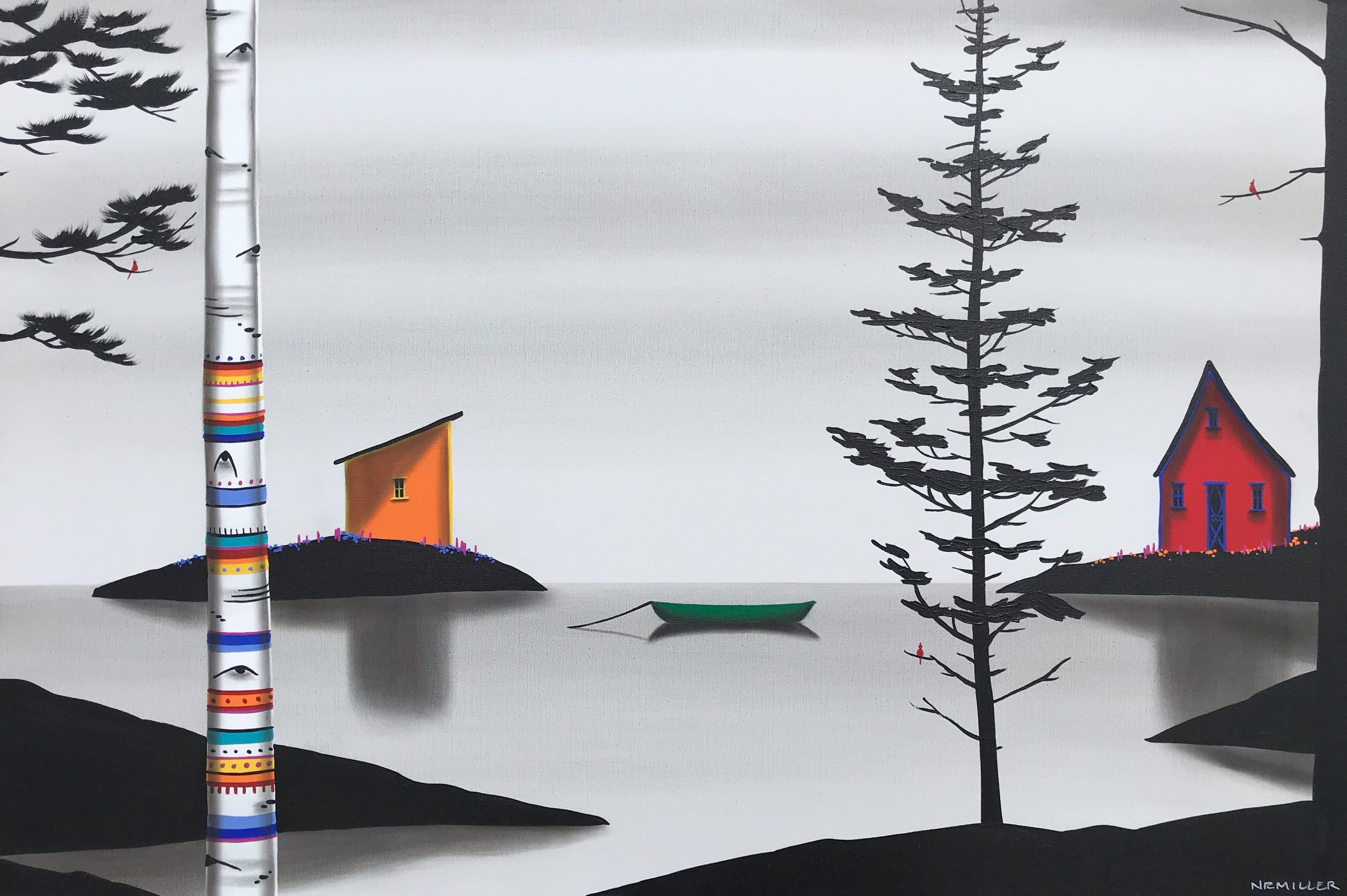 Checks all the Boxes, mixed media landscape painting by Natasha Miller | Effusion Art Gallery + Cast Glass Studio, Invermere BC