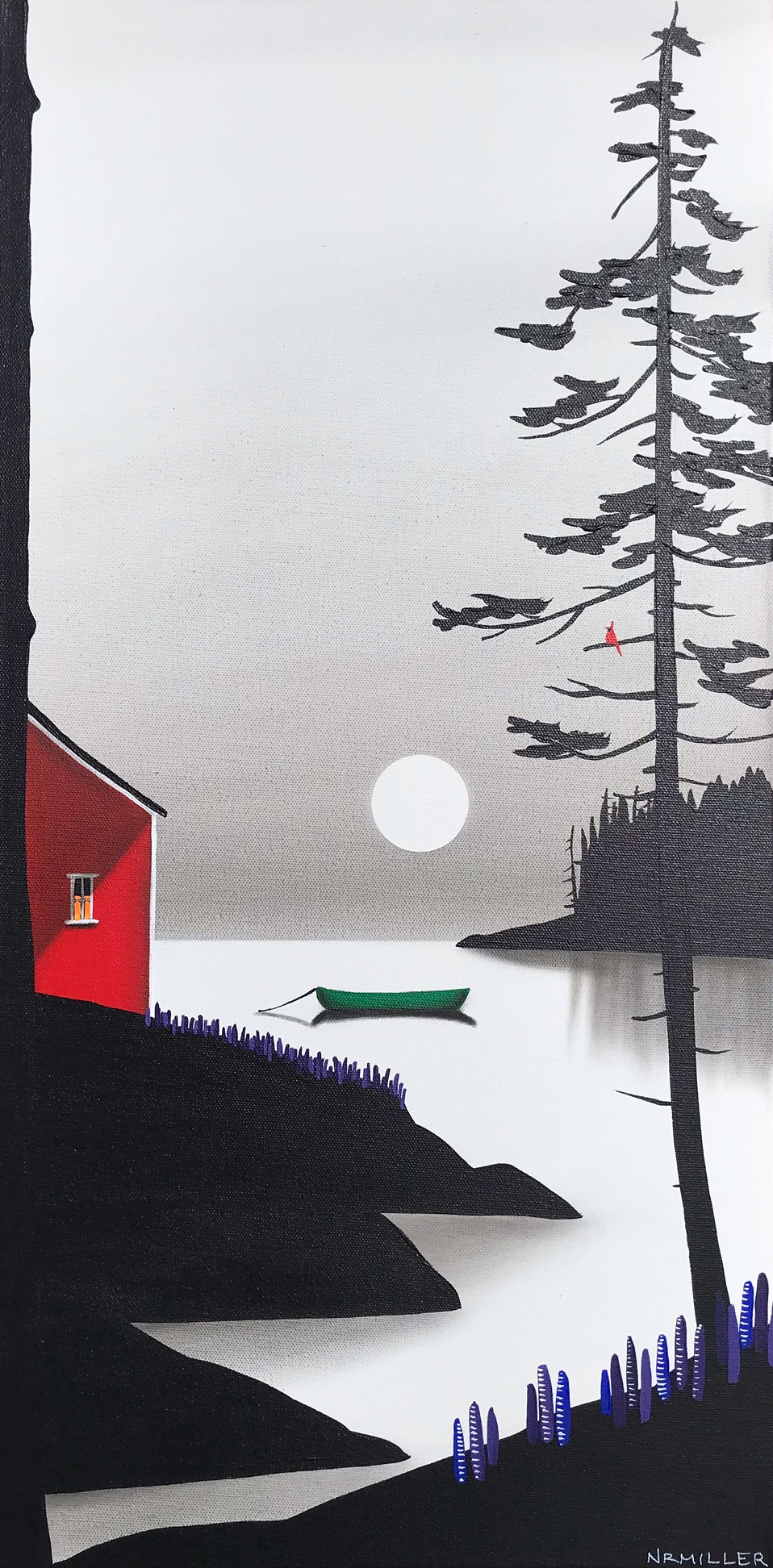 Early Summer Nights, mixed media landscape painting by Natasha Miller | Effusion Art Gallery + Cast Glass Studio, Invermere BC