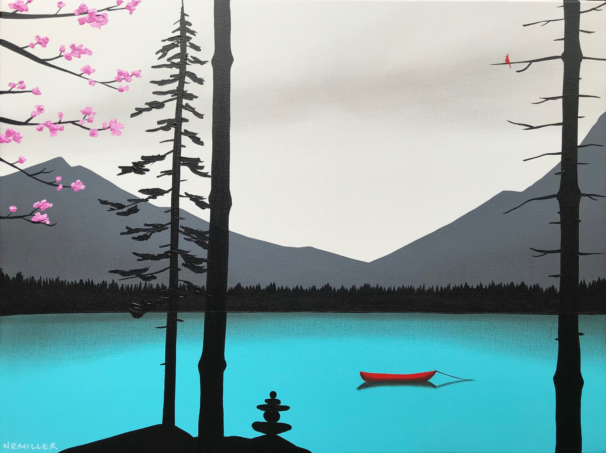 Meet in the Middle, mixed media landscape painting by Natasha Miller | Effusion Art Gallery + Cast Glass Studio, Invermere BC