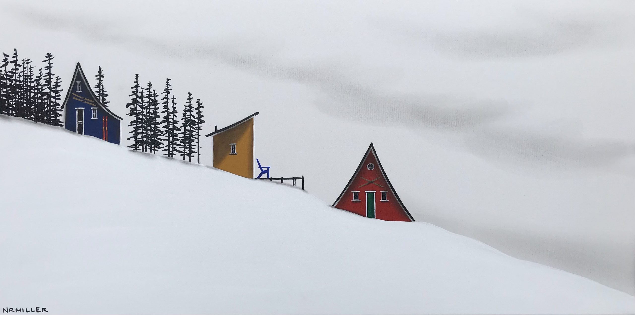 Spring Ski Glee, mixed media landscape painting by Natasha Miller | Effusion Art Gallery + Cast Glass Studio, Invermere BC