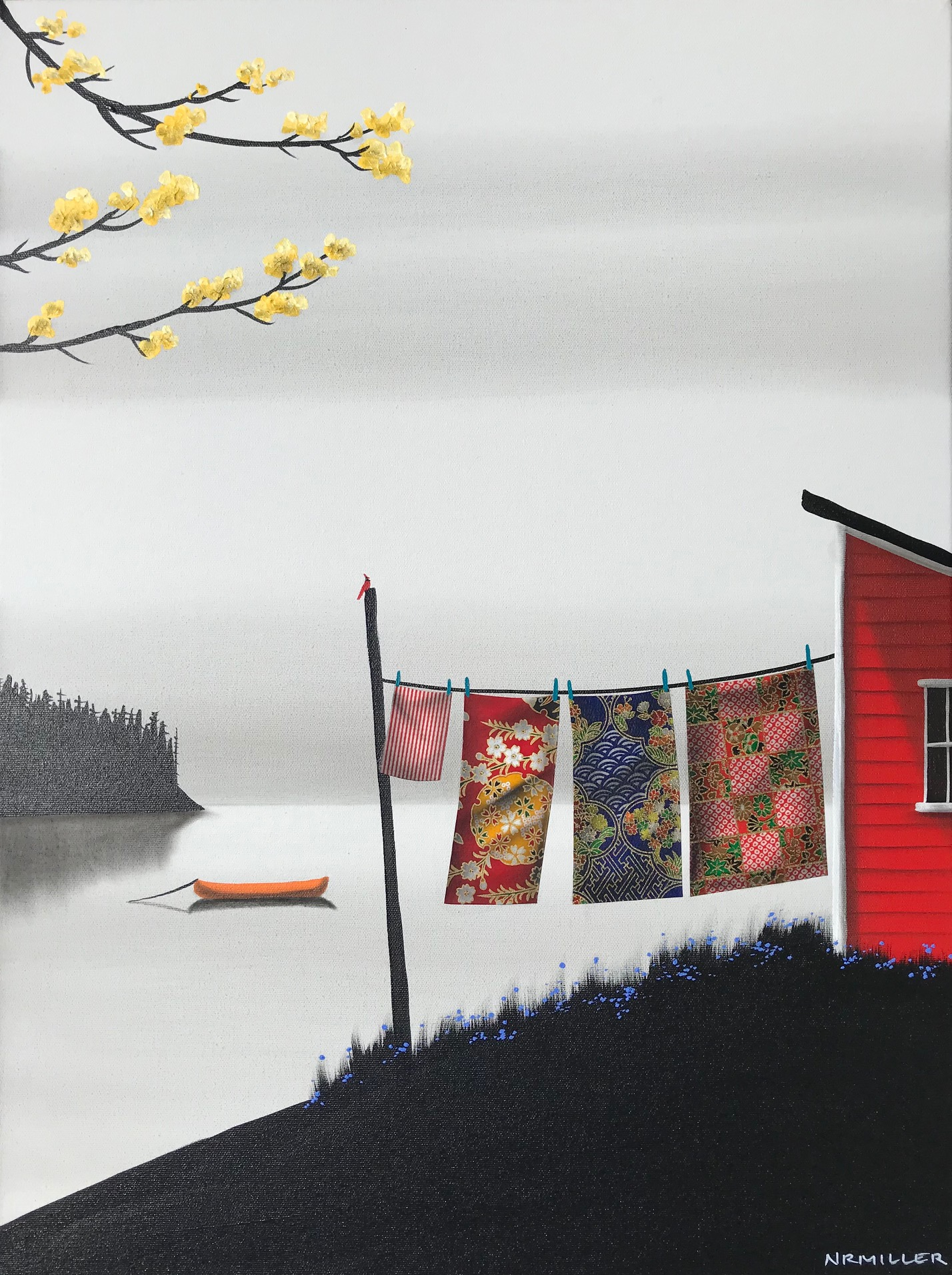 The Joy of Laundry Day, mixed media landscape painting by Natasha Miller | Effusion Art Gallery + Cast Glass Studio, Invermere BC