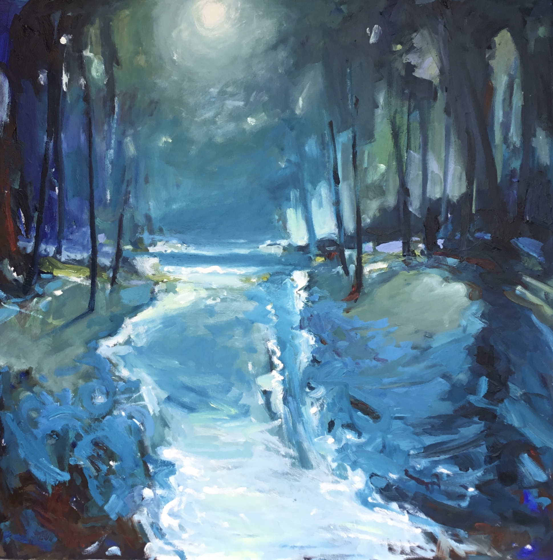 Moonlight, oil painting by Carol Finkbeiner Thomas | Effusion Art Gallery + Cast Glass Studio, Invermere BC