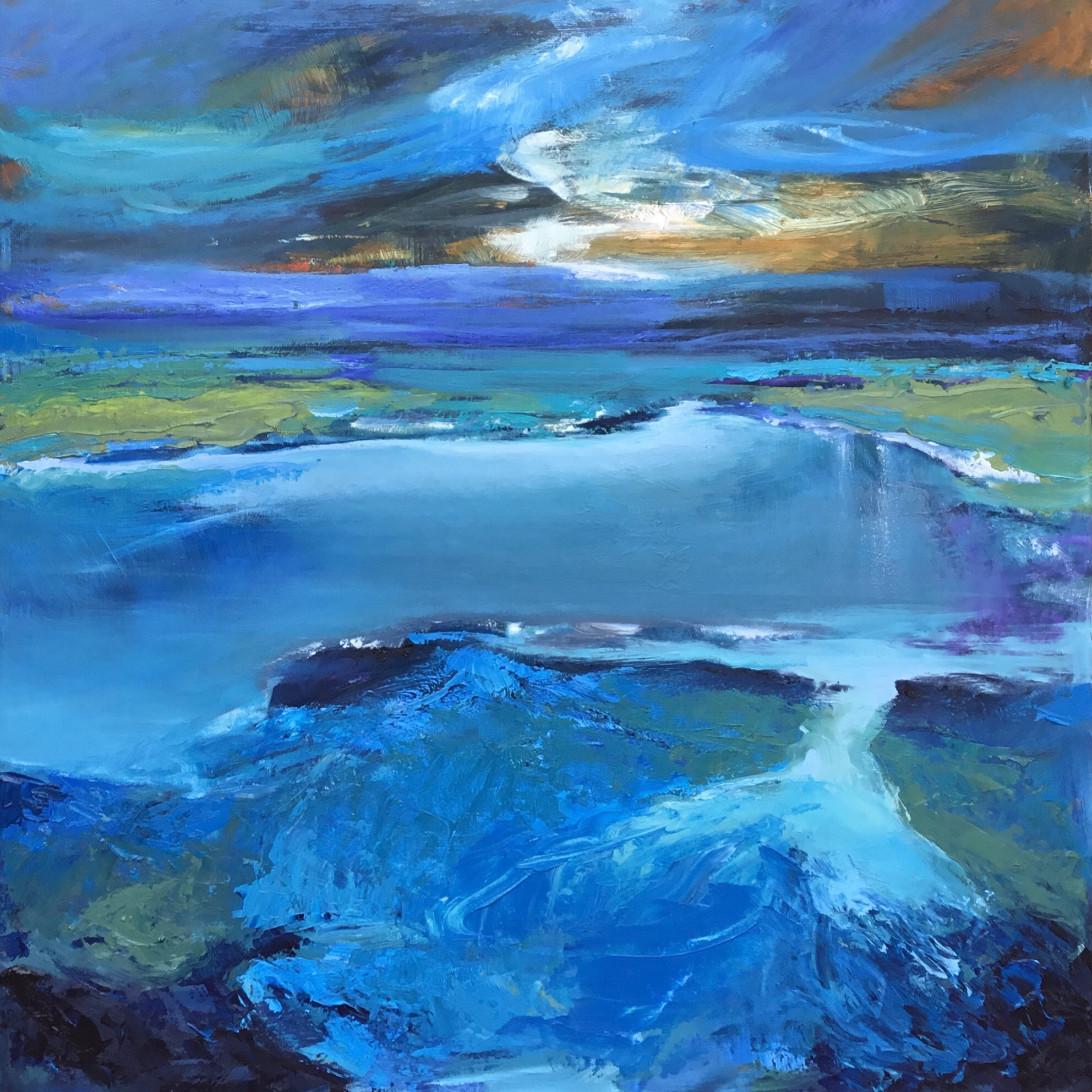 Northern Shore, oil painting by Carol Finkbeiner Thomas | Effusion Art Gallery + Cast Glass Studio, Invermere BC