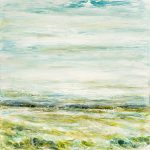 Distant Fields, abstract landscape painting by Gina Sarro   Effusion Art Gallery + Cast Glass Studio, Invermere BC