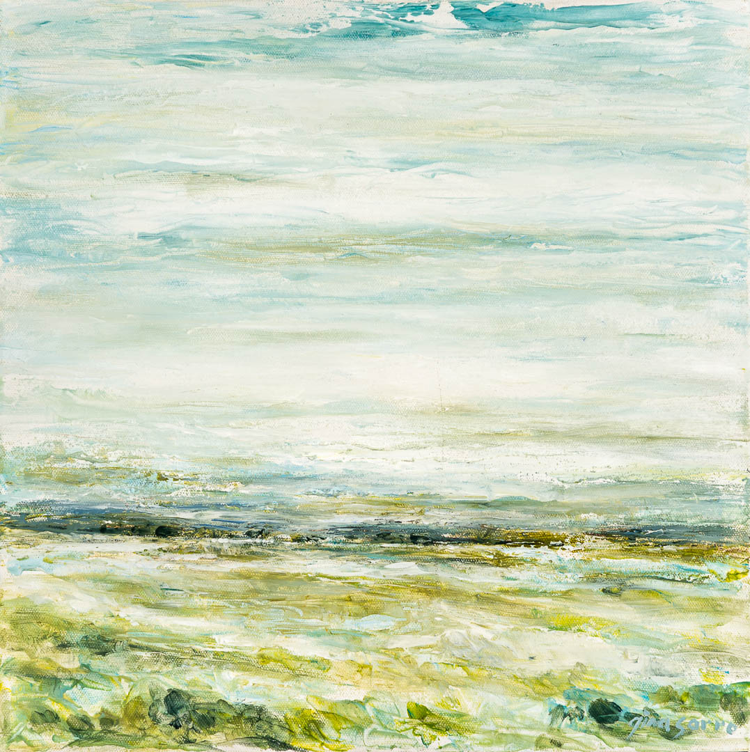 Distant Fields, abstract landscape painting by Gina Sarro | Effusion Art Gallery + Cast Glass Studio, Invermere BC