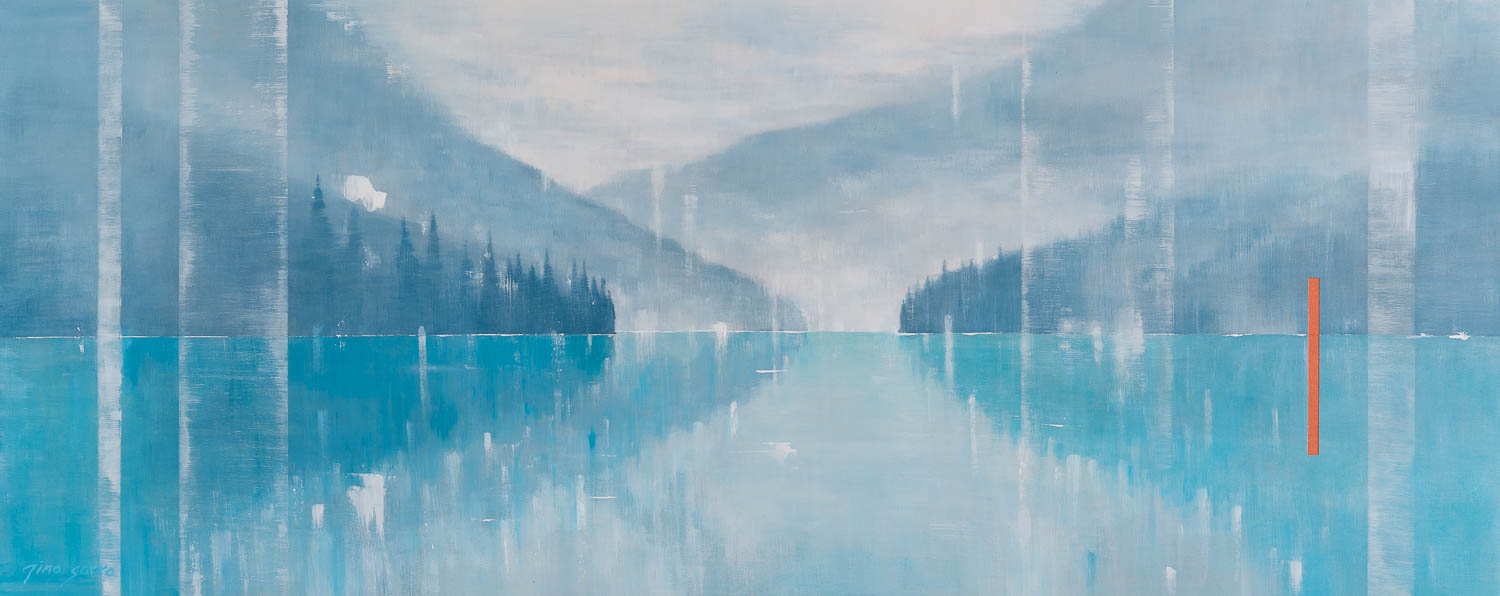 Feeling the Calm, abstract landscape painting by Gina Sarro | Effusion Art Gallery + Cast Glass Studio, Invermere BC