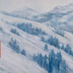 Remembering Winter on the Slopes, abstract landscape painting by Gina Sarro | Effusion Art Gallery + Cast Glass Studio, Invermere BC