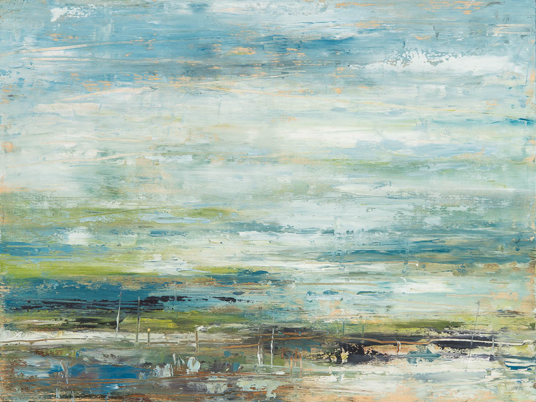 Spring Arrival, abstract landscape painting by Gina Sarro | Effusion Art Gallery + Cast Glass Studio, Invermere BC