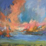 Sky Rise, oil painting by Carol Finkbeiner Thomas | Effusion Art Gallery + Cast Glass Studio, Invermere BC
