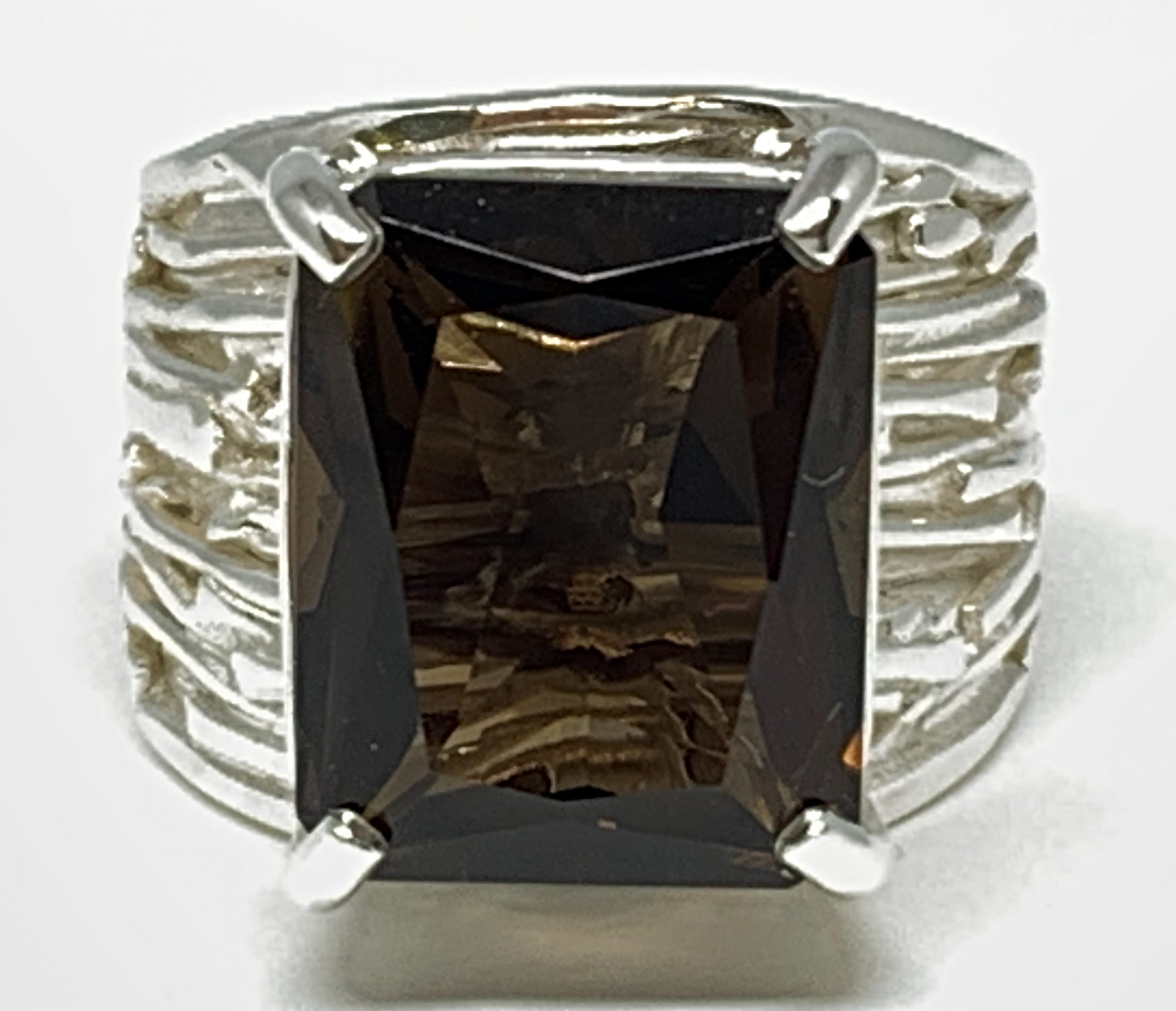 Sterling silver and smoky quartz ring by A&R Jewellery | Effusion Art Gallery + Cast Glass Studio, Invermere BC