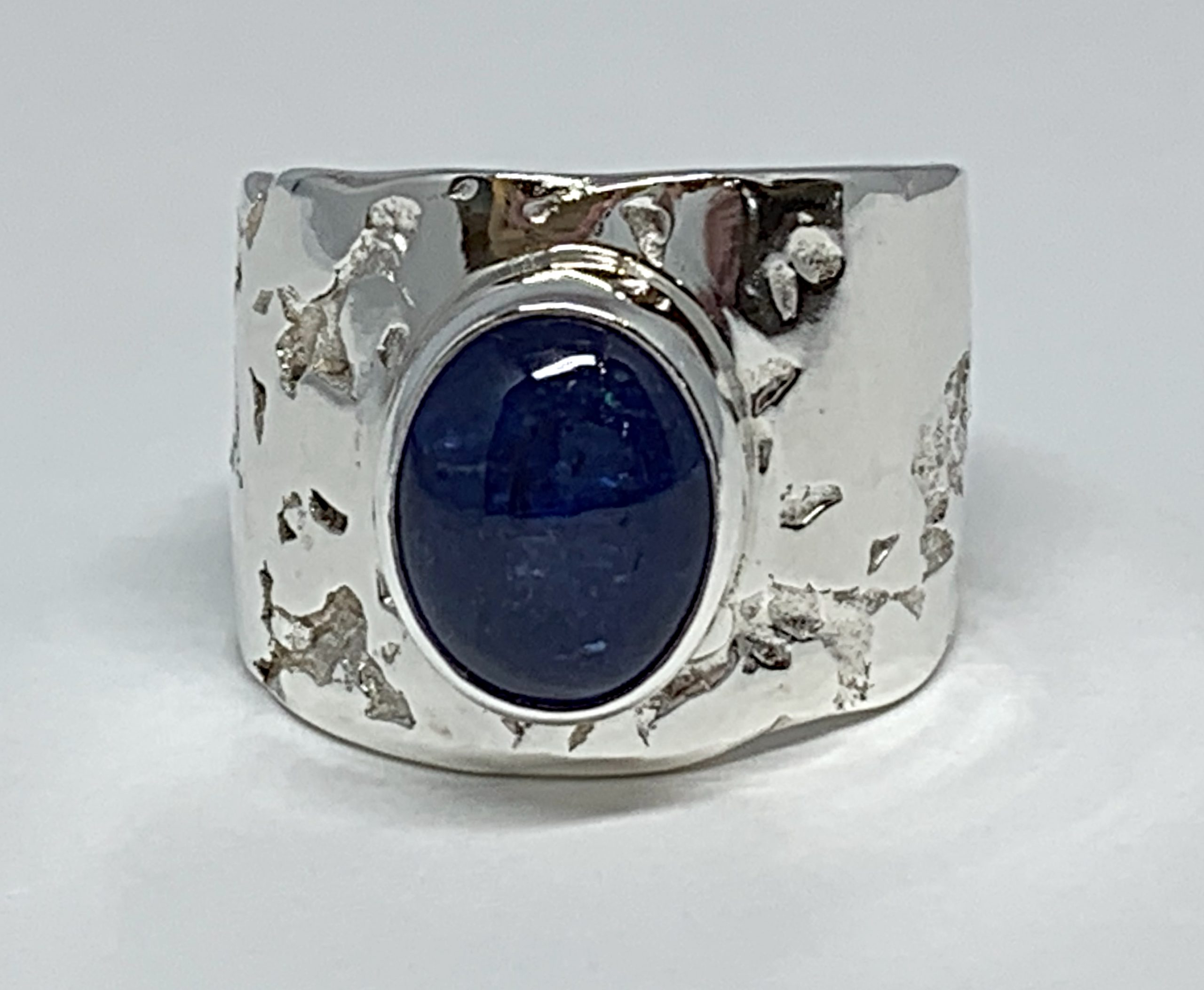 Sterling silver and tanzanite cabochon ring by A&R Jewellery   Effusion Art Gallery + Cast Glass Studio, Invermere BC