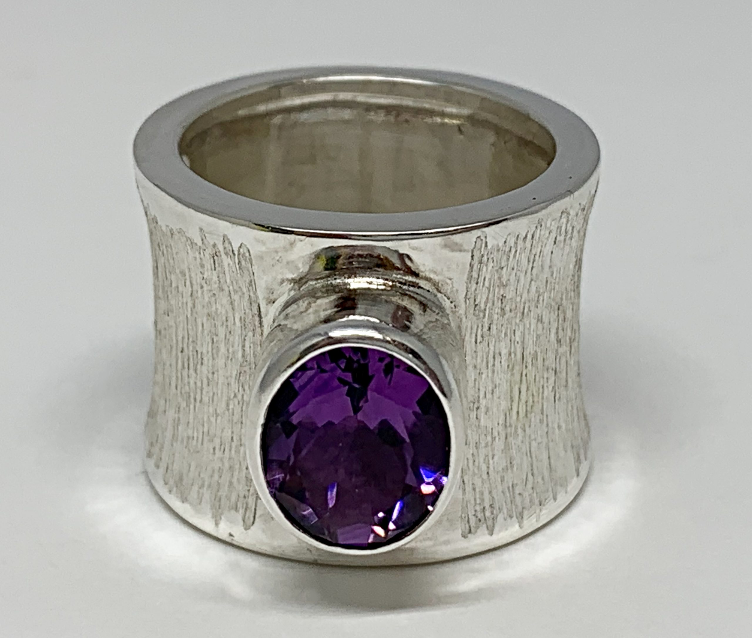 Sterling silver and amethyst ring by A&R Jewellery | Effusion Art Gallery + Cast Glass Studio, Invermere BC