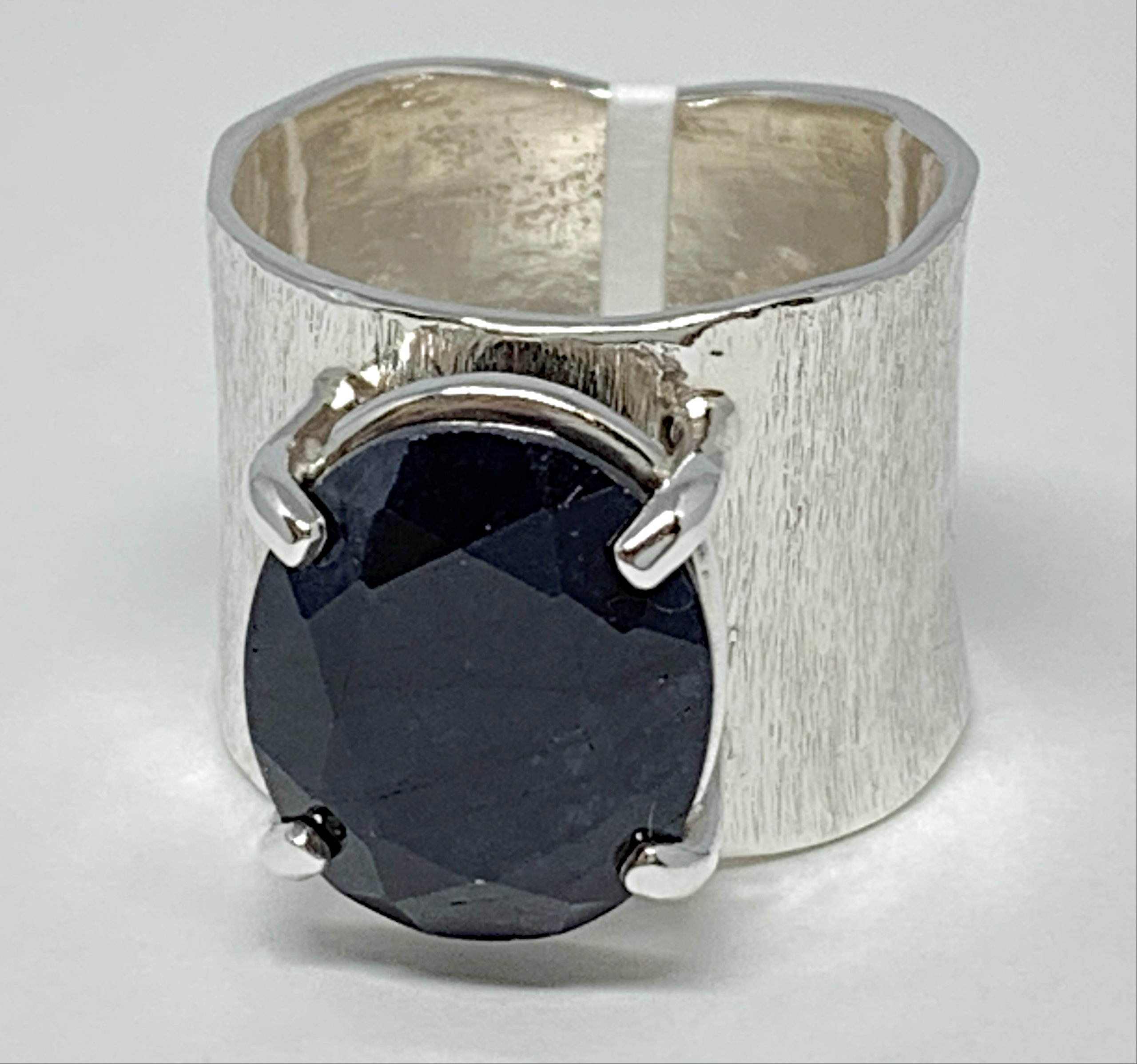 Handmade sterling silver and sapphire ring by A&R Jewellery | Effusion Art Gallery + Cast Glass Studio, Invermere BC