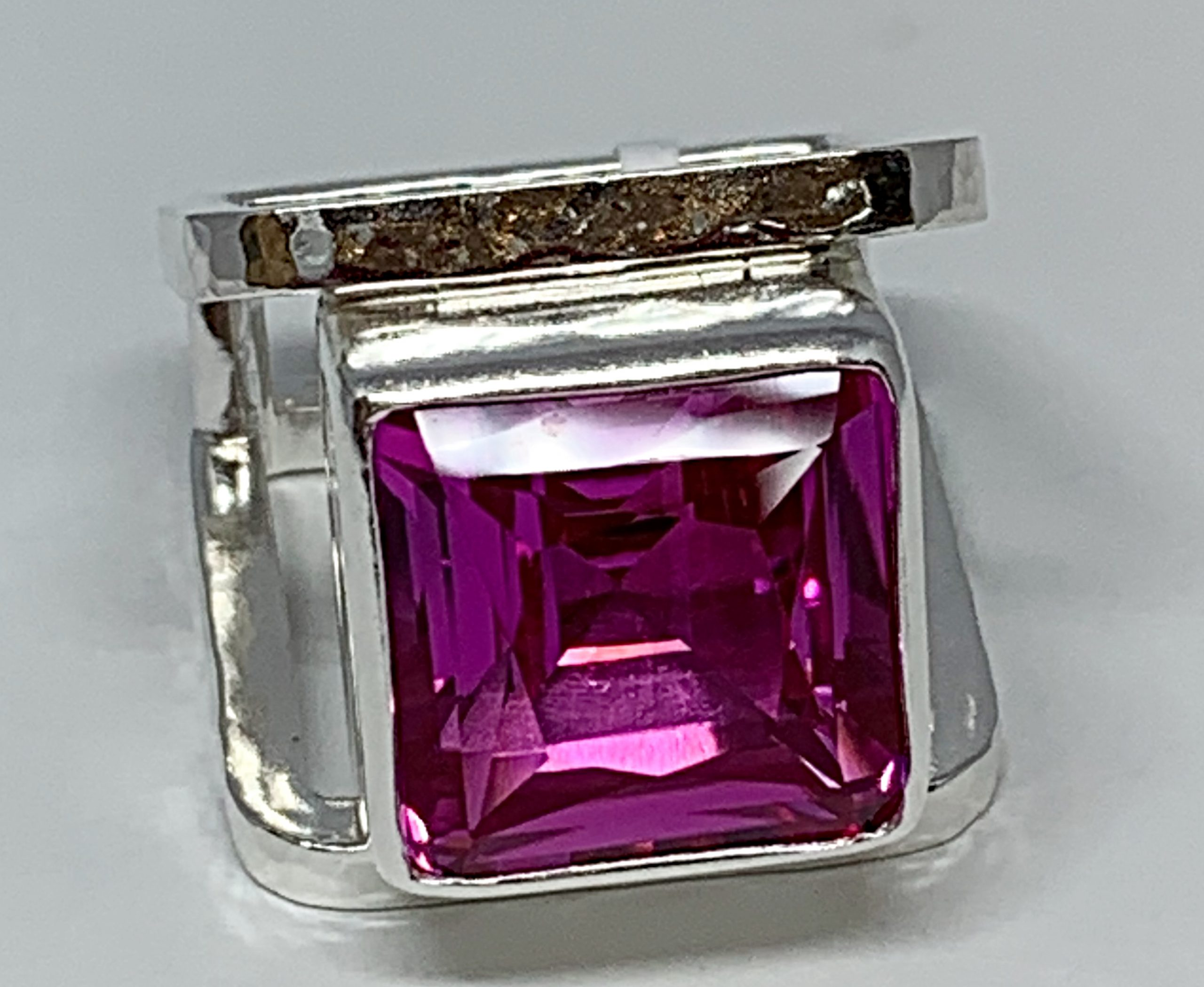 Handmade sterling silver and pink topaz ring by A&R Jewellery | Effusion Art Gallery + Cast Glass Studio, Invermere BC