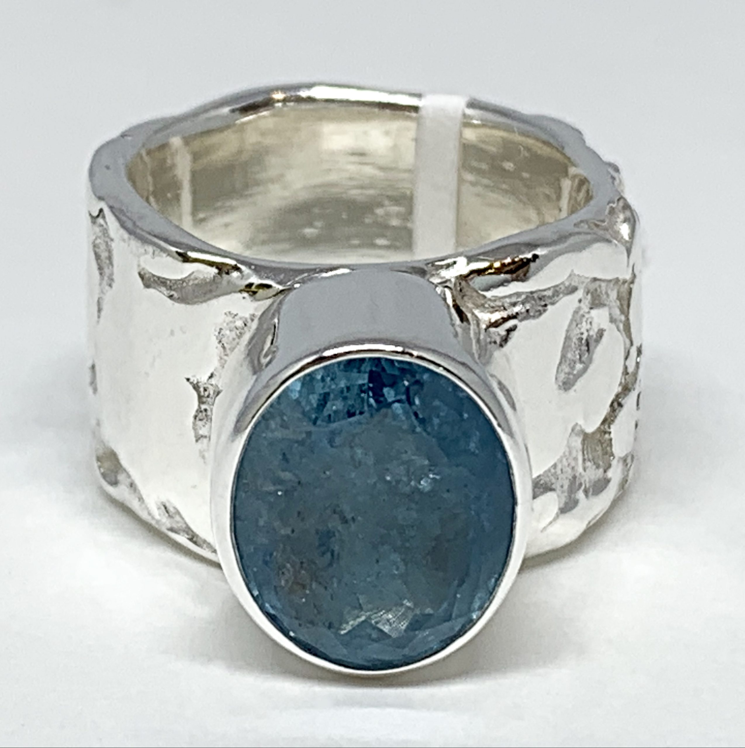 Handmade sterling silver and raw aquamarine ring by A&R Jewellery   Effusion Art Gallery + Cast Glass Studio, Invermere BC