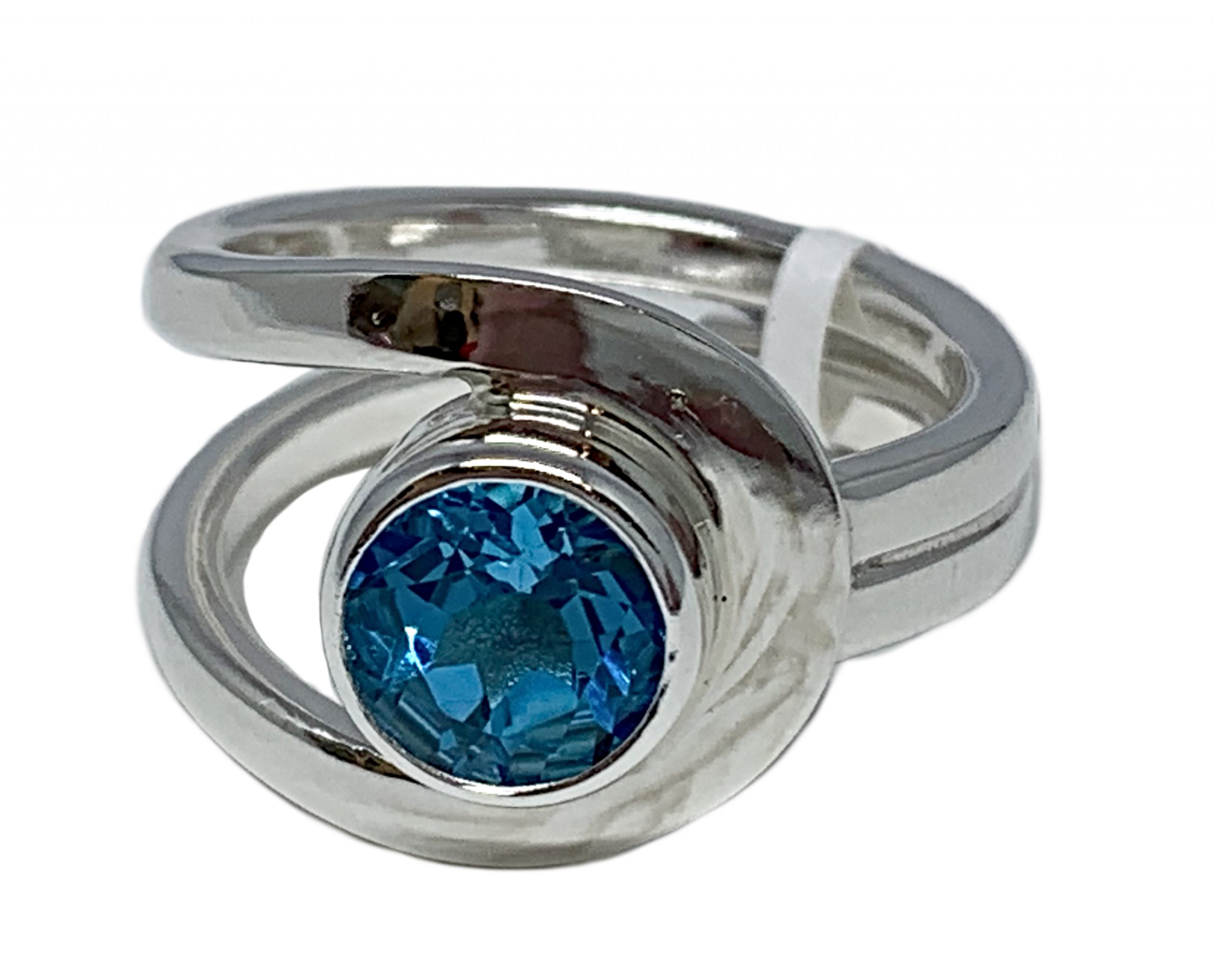 Sterling silver and 2.5 ct Swiss topaz ring by A&R Jewellery | Effusion Art Gallery + Cast Glass Studio, Invermere BC