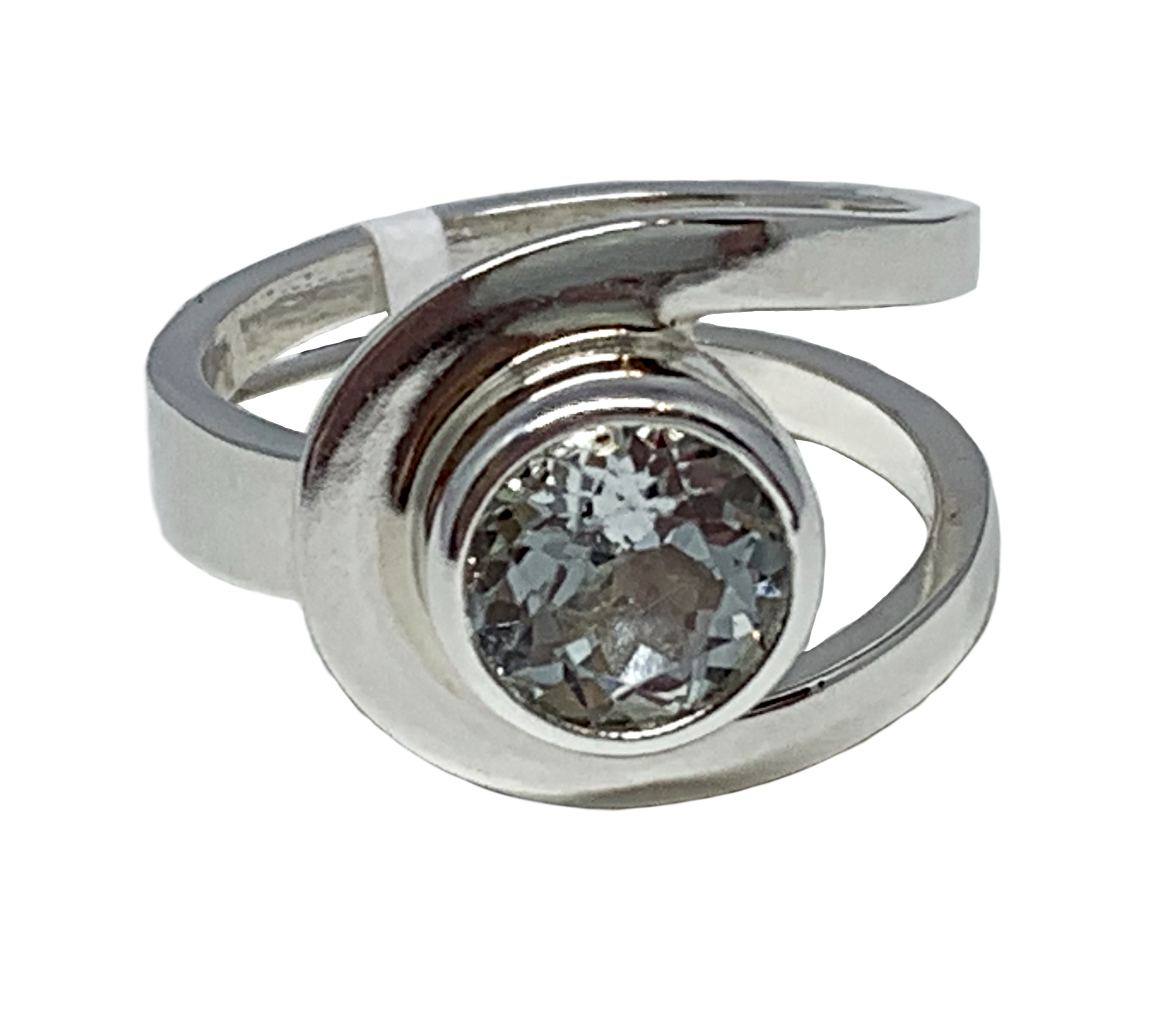 Sterling silver and 2.5 ct white topaz ring by A&R Jewellery | Effusion Art Gallery + Cast Glass Studio, Invermere BC