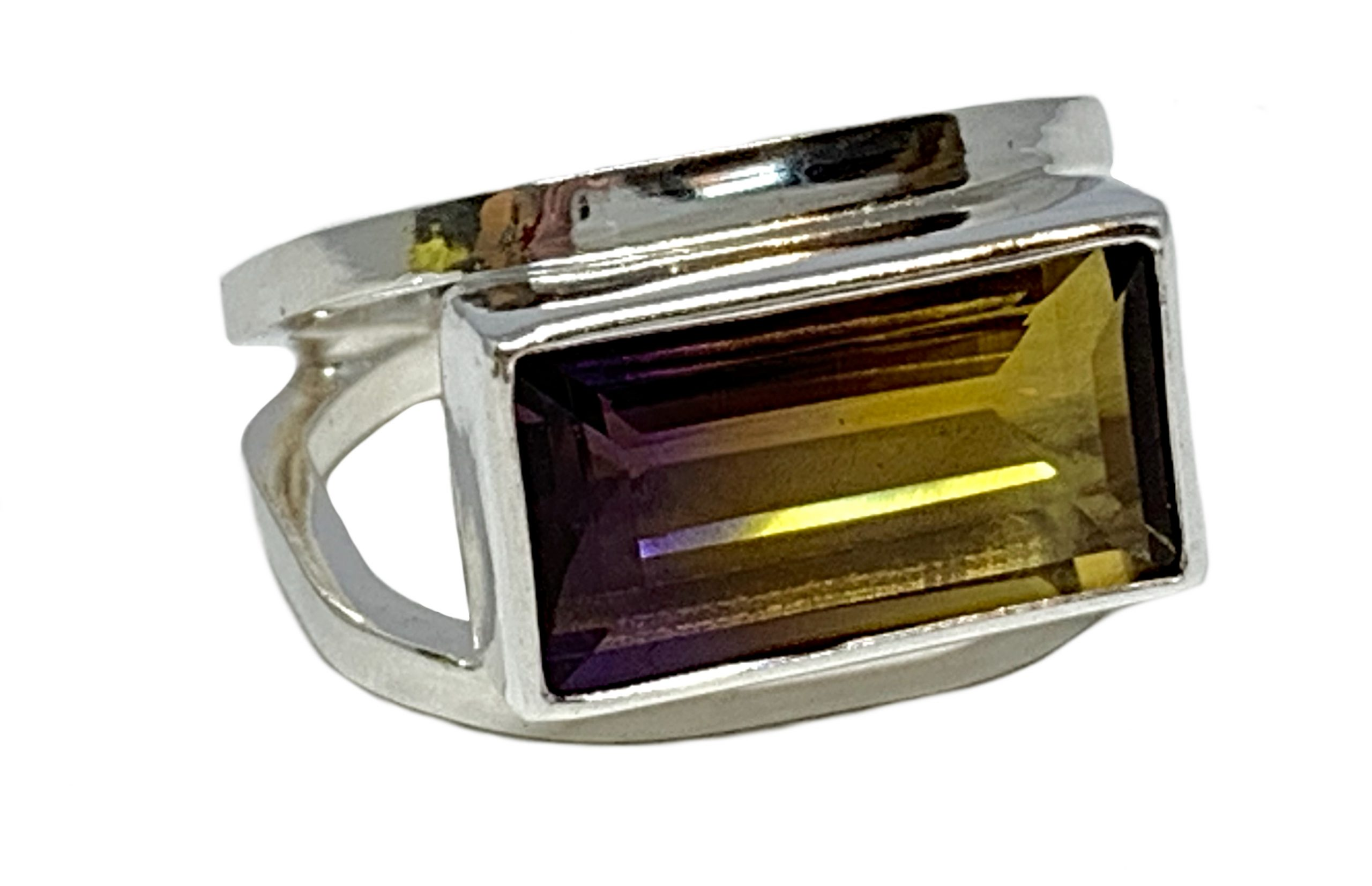 Sterling silver and 8 ct ametrine ring by A&R Jewellery | Effusion Art Gallery + Cast Glass Studio, Invermere BC