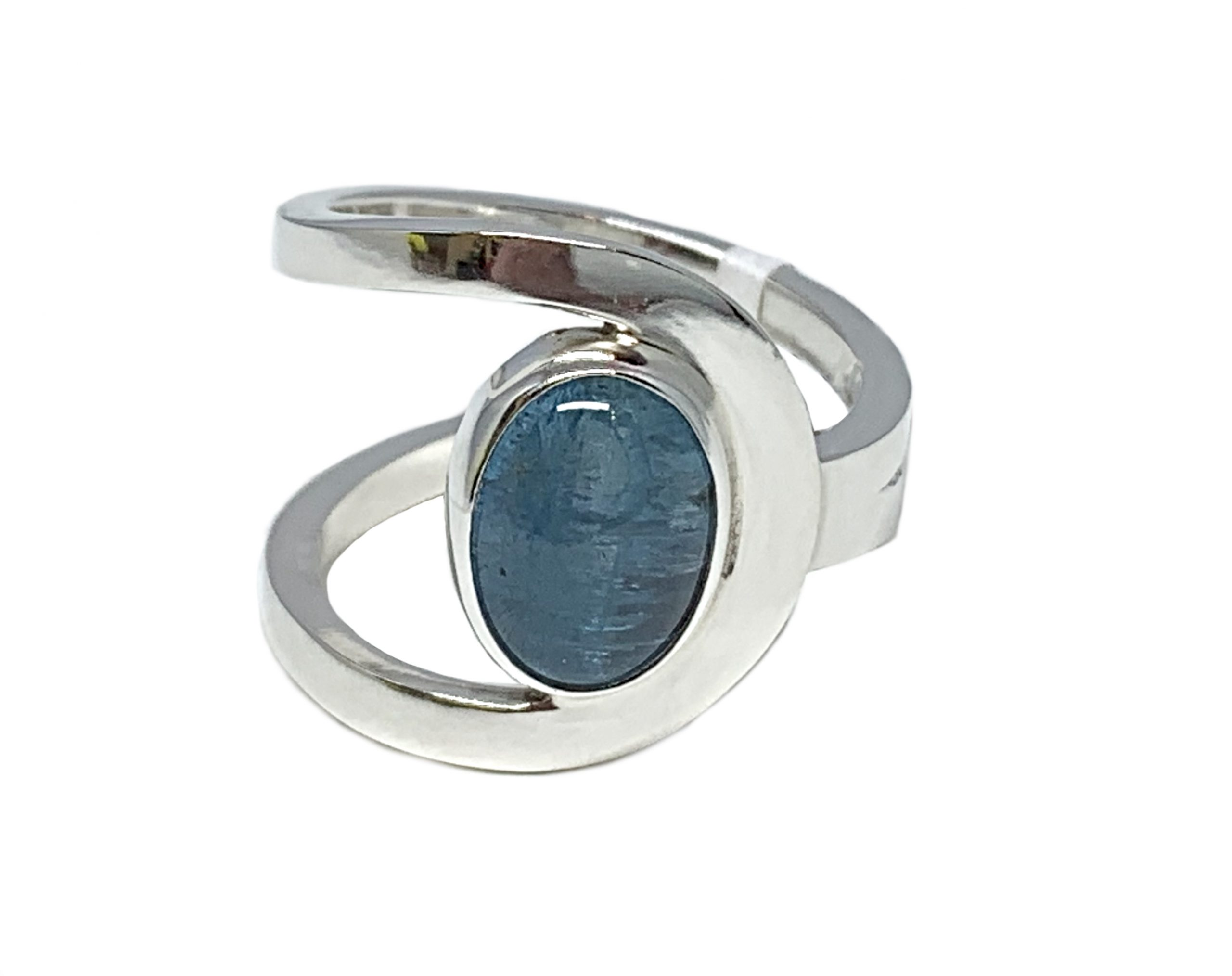 Sterling silver and 3 ct aquamarine cabochon ring by A&R Jewellery | Effusion Art Gallery + Cast Glass Studio, Invermere BC