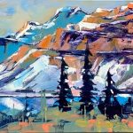 Crowfoot Mountain Glacier, landscape painting by Verne Busby | Effusion Art Gallery + Cast Glass Studio, Invermere BC