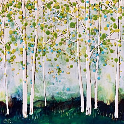 Campfires Burning, encaustic landscape painting by Catharine Clarke   Effusion Art Gallery + Cast Glass Studio, Invermere BC