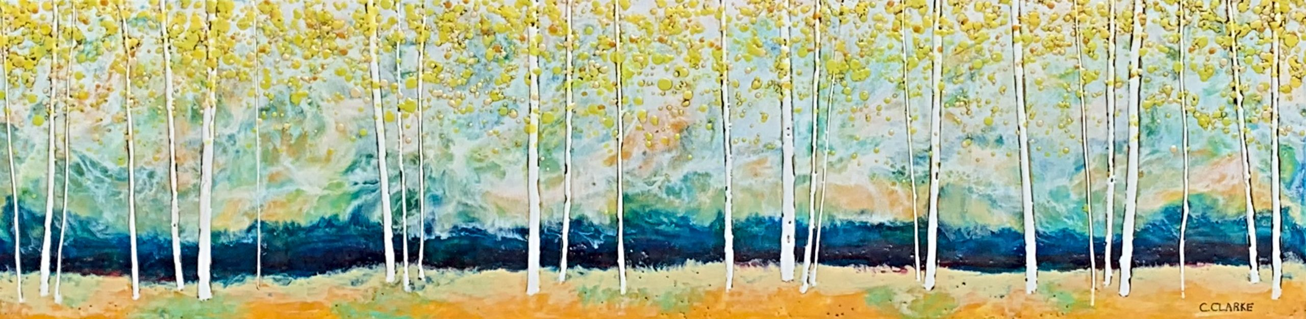 Field Day, encaustic landscape painting by Catharine Clarke | Effusion Art Gallery + Cast Glass Studio, Invermere BC