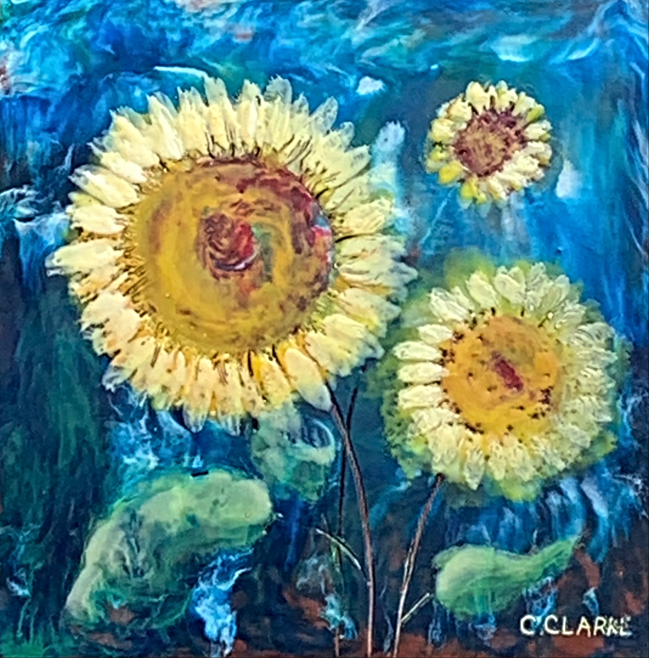 Photobomb, encaustic sunflower painting by Catharine Clarke | Effusion Art Gallery + Cast Glass Studio, Invermere BC