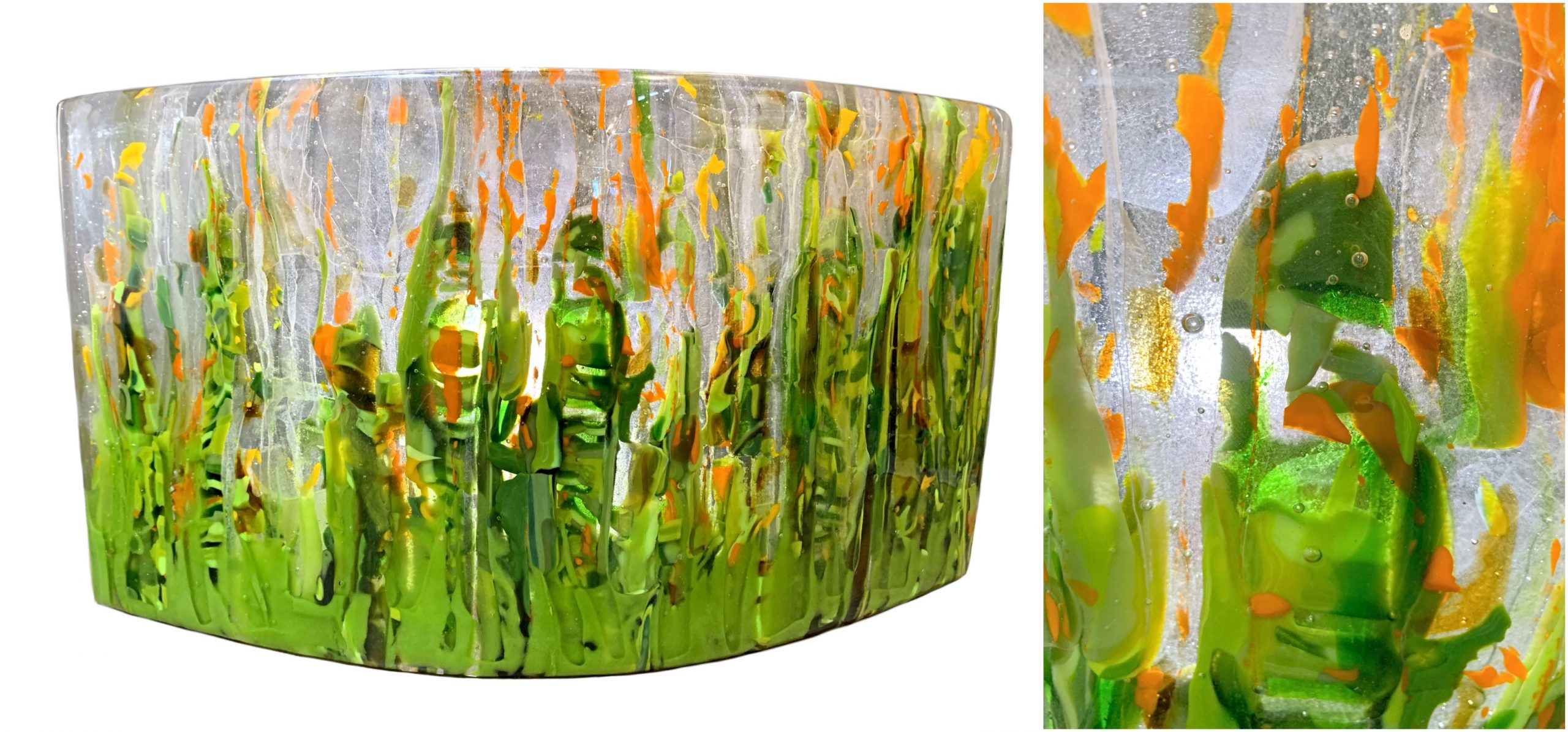 Reaching for Summer, alpine flower cast glass panel by Heather Cuell | Effusion Art Gallery + Cast Glass Studio, Invermere BC